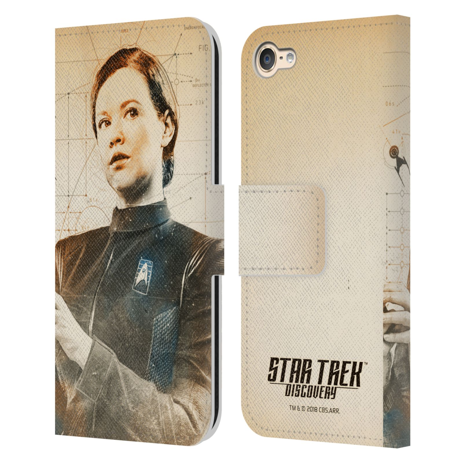 STAR-TREK-DISCOVERY-GRUNGE-CHARACTERS-LEATHER-BOOK-CASE-FOR-APPLE-iPOD-TOUCH-MP3