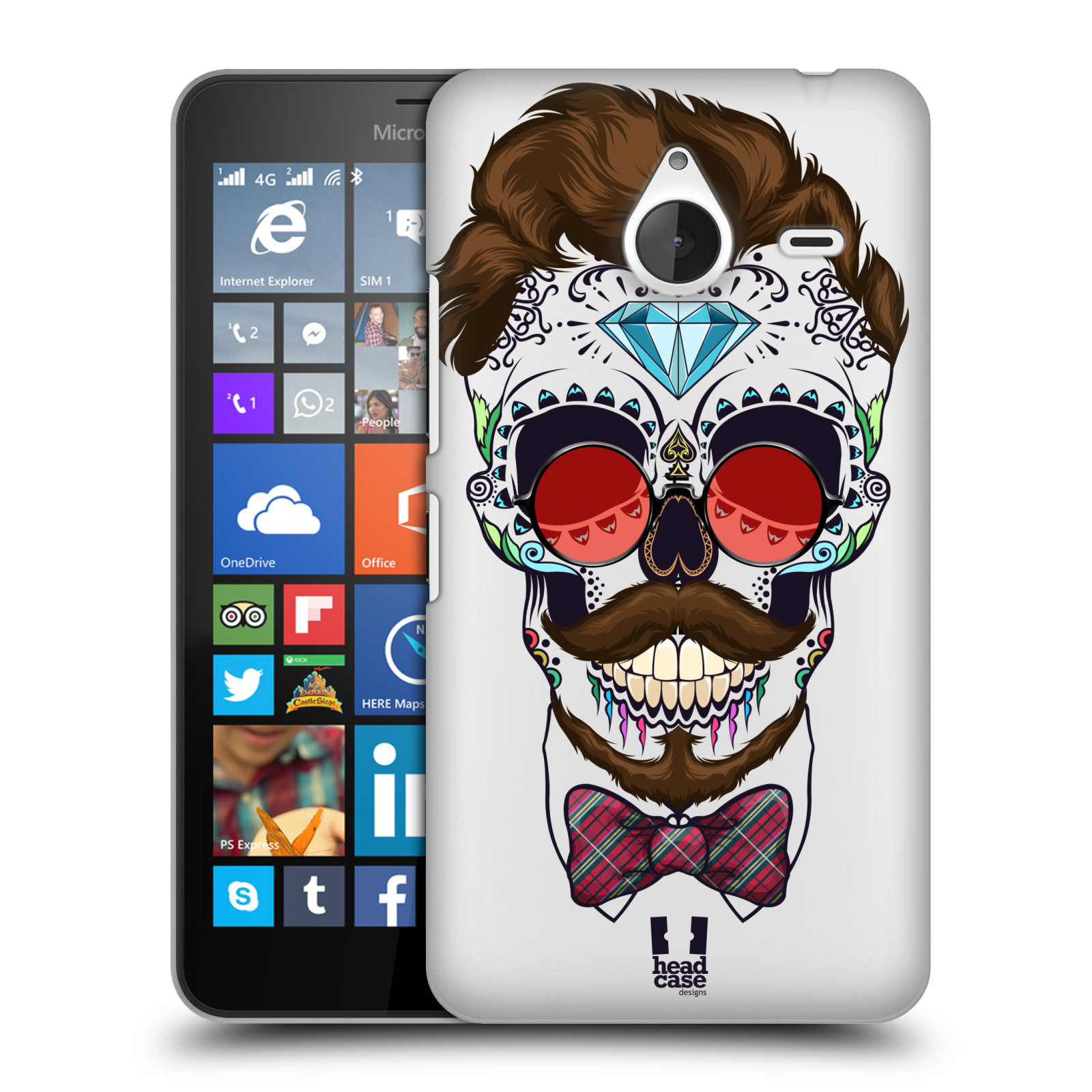 Plastové pouzdro na mobil Microsoft Lumia 640 XL - Head Case - Lebka hipstra