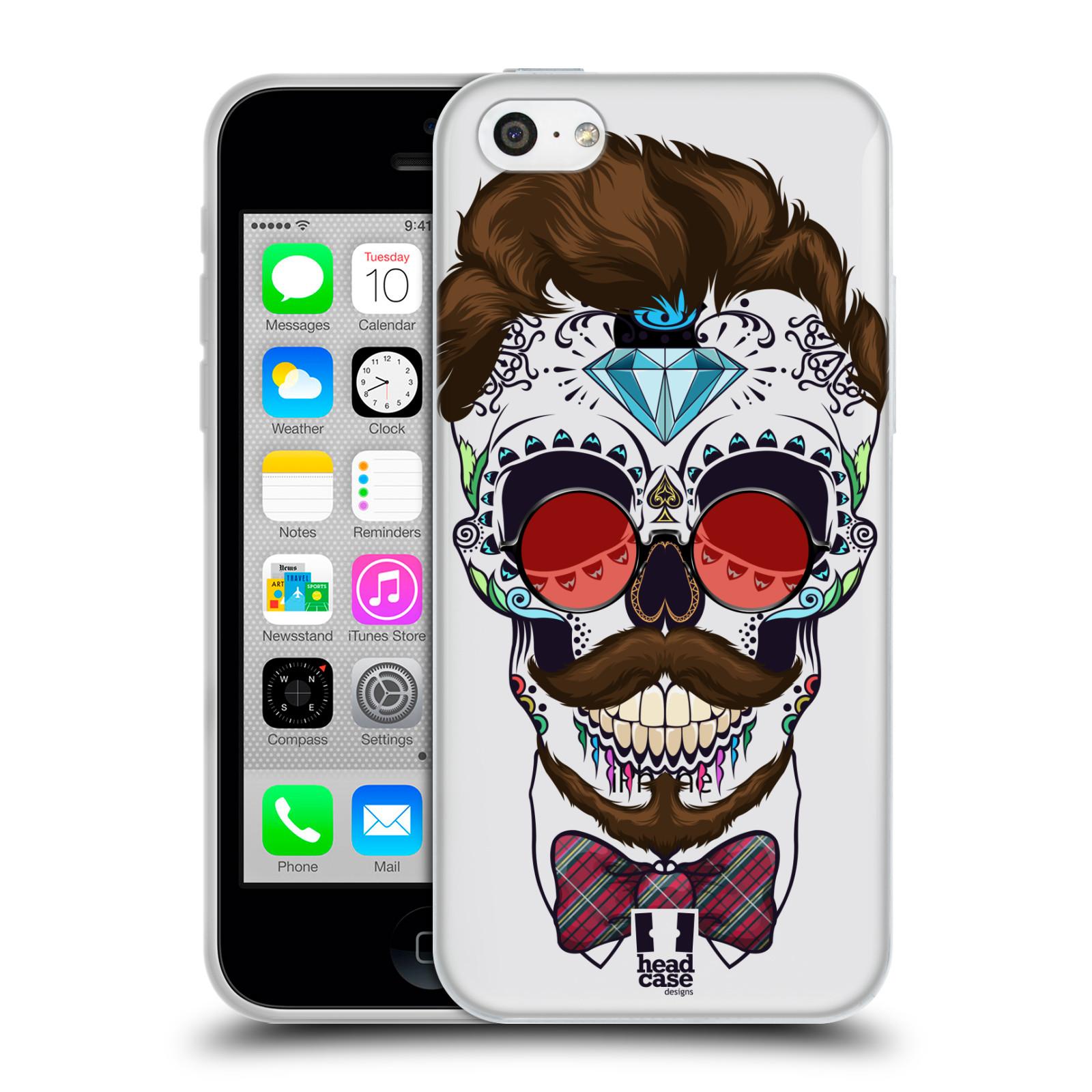 Silikonové pouzdro na mobil Apple iPhone 5C - Head Case - Lebka hipstra