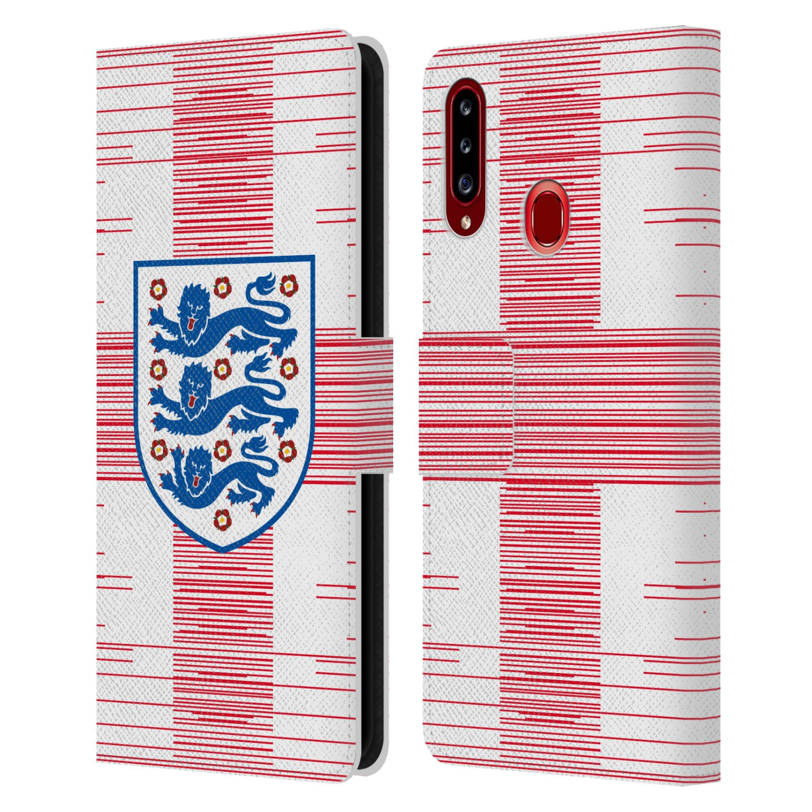 Official England National Football Team 2018/19 Crest Flag 2 Leather Book Wallet Case For Samsung Galaxy A20s (2019)