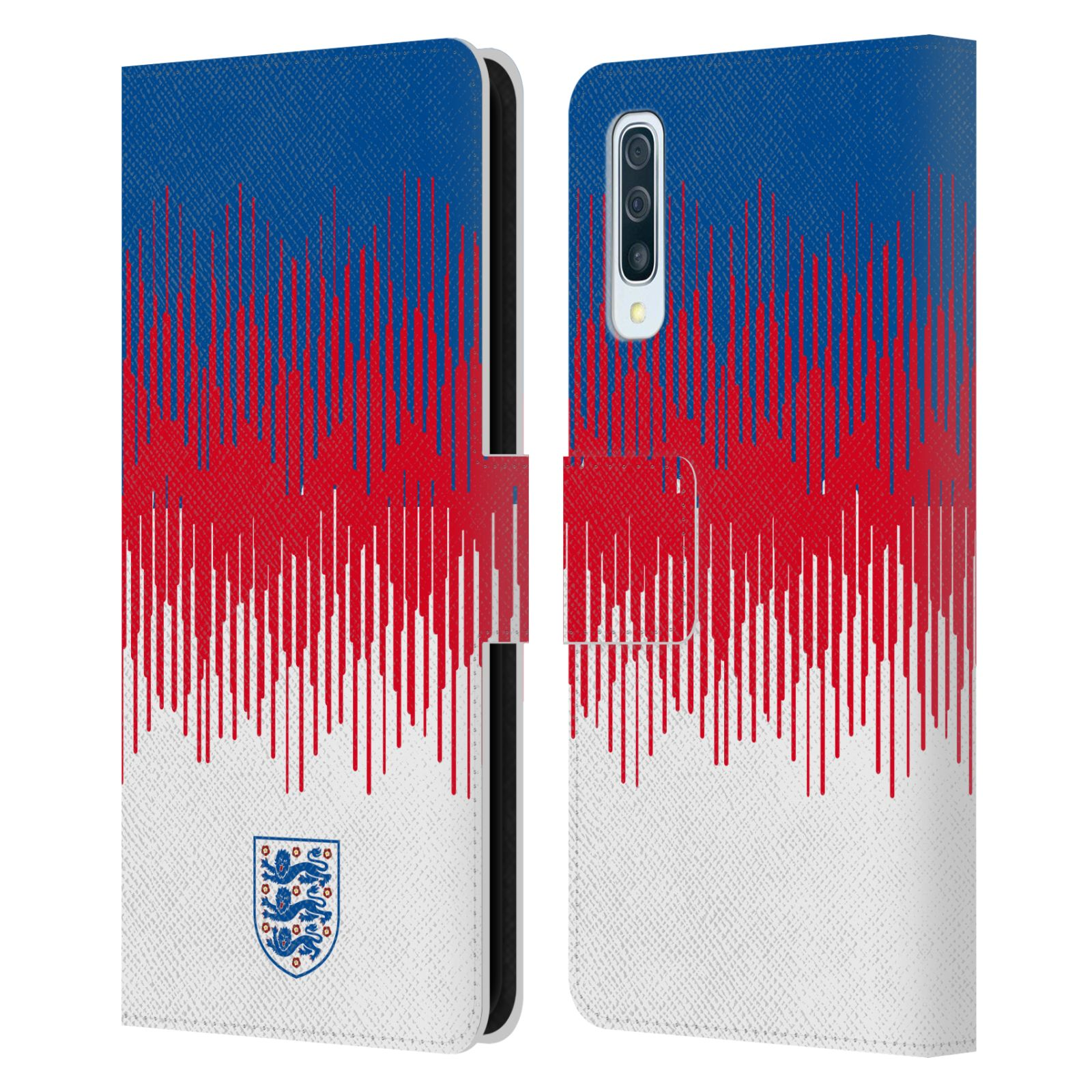 Official England National Football Team 2018/19 Crest Pattern Leather Book Wallet Case For Samsung Galaxy A50/A30s (2019)