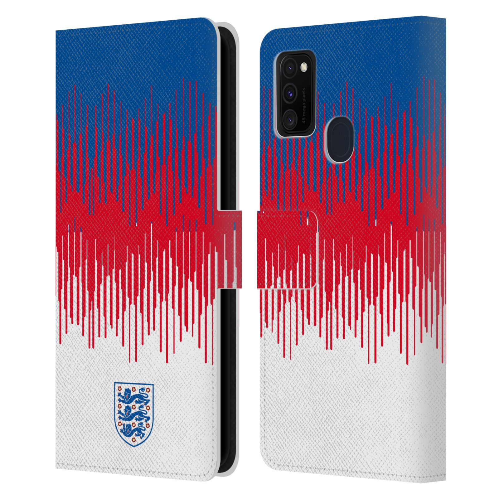 Official England National Football Team 2018/19 Crest Pattern Leather Book Wallet Case For Samsung Galaxy M30s (2019)