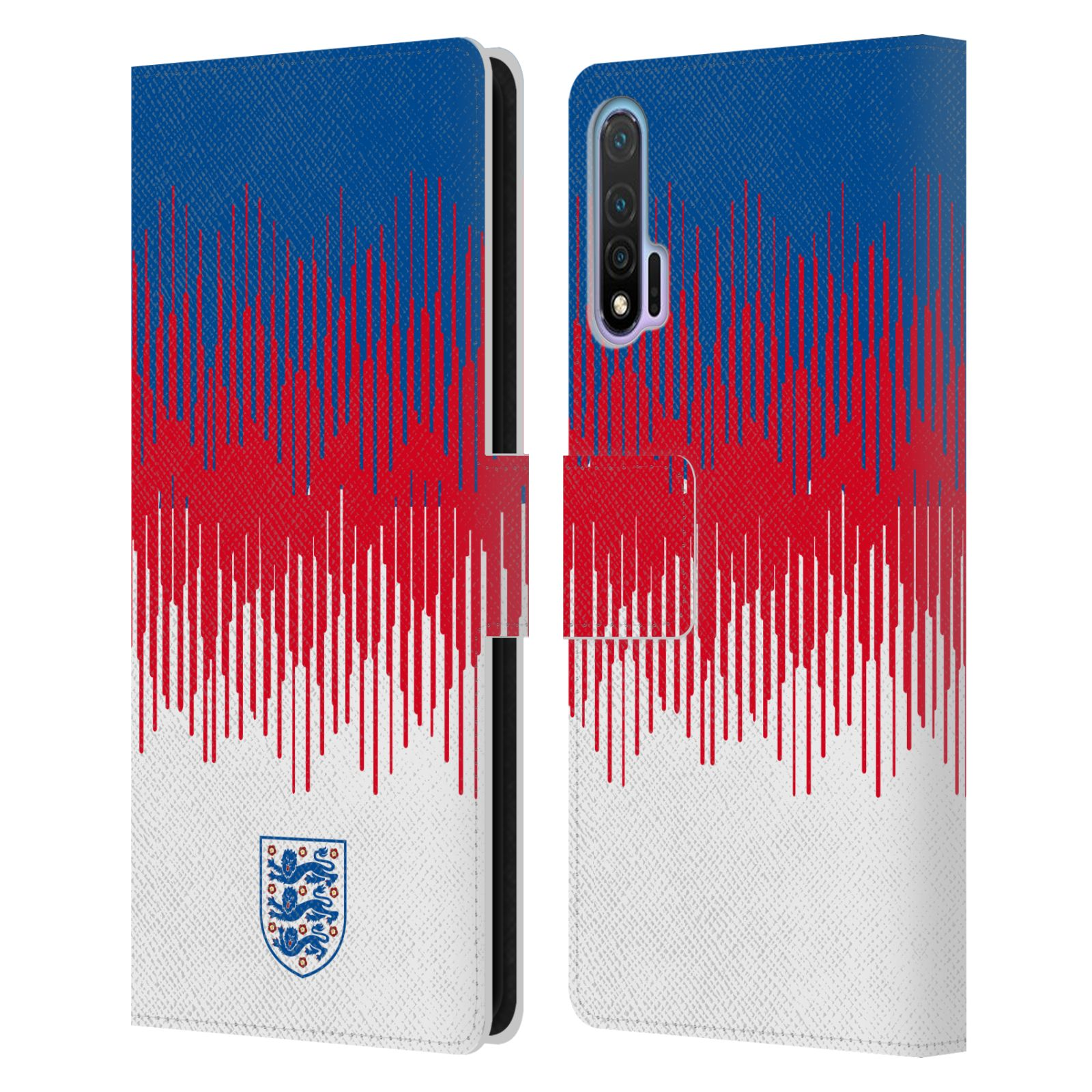 Official England National Football Team 2018/19 Crest Pattern Leather Book Wallet Case For Huawei Nova 6 5G