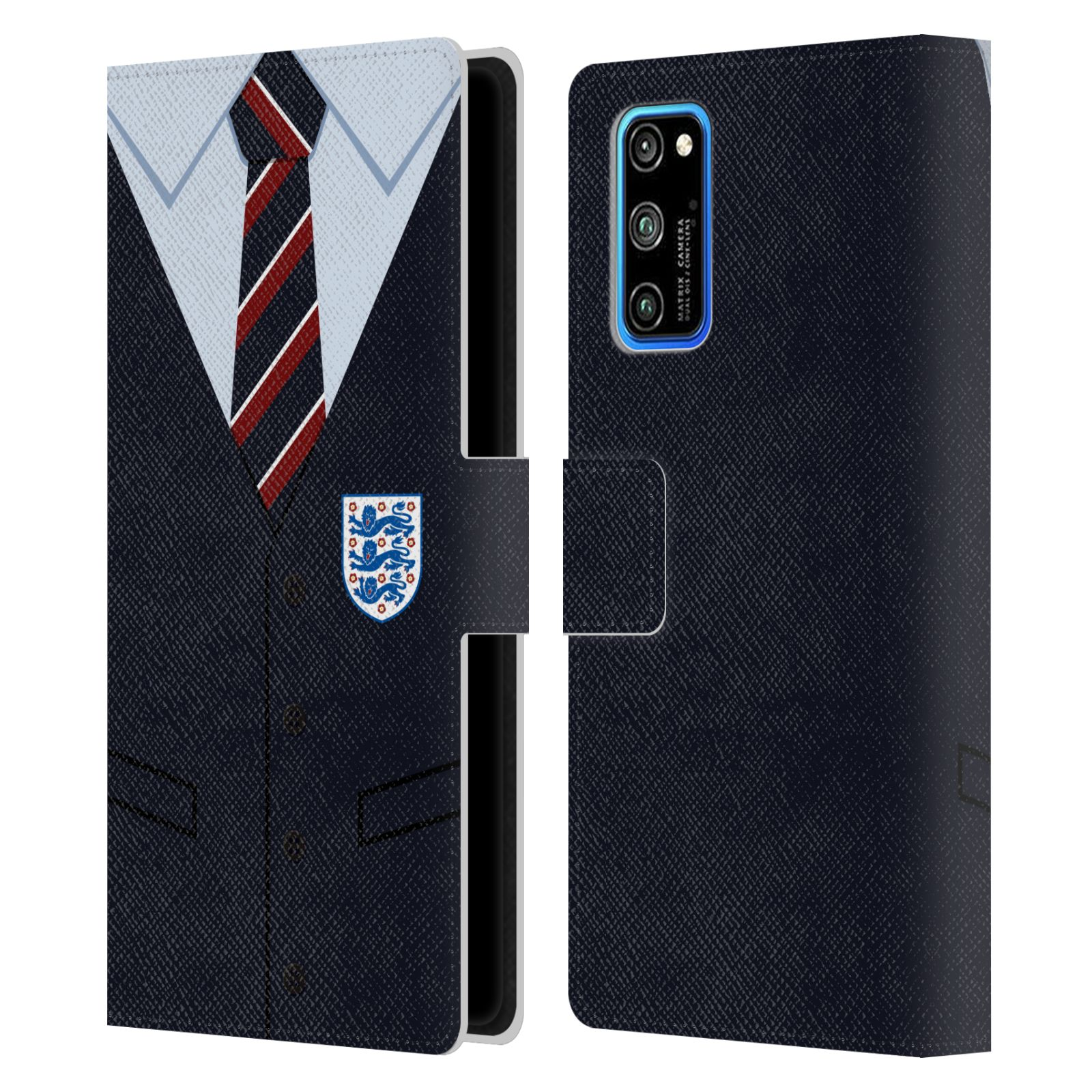 Official England National Football Team 2018/19 Crest Southgate Waistcoat Leather Book Wallet Case For Huawei Honor V30 Pro / View 30 Pro