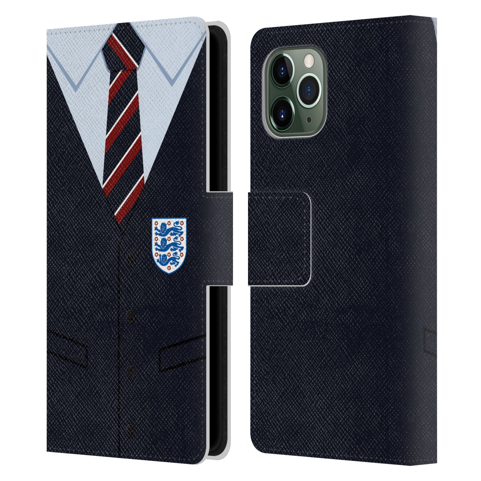 Official England National Football Team 2018/19 Crest Southgate Waistcoat Leather Book Wallet Case For Apple iPhone 11 Pro