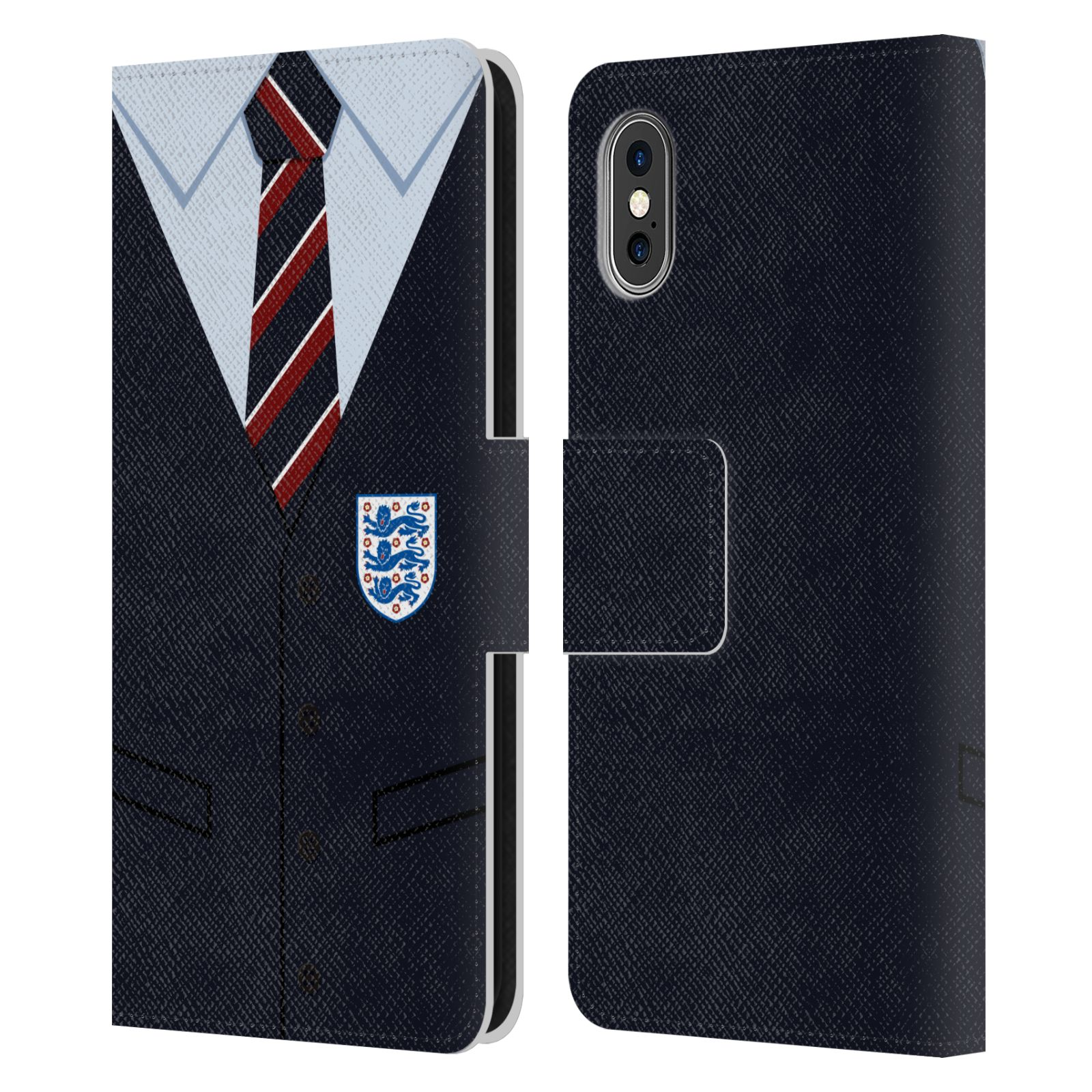 Official England National Football Team 2018/19 Crest Southgate Waistcoat Leather Book Wallet Case For Apple iPhone X / iPhone XS