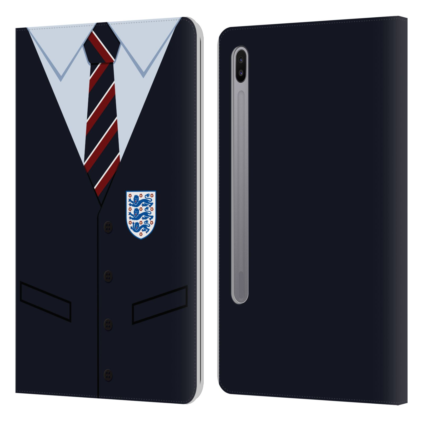 Official England National Football Team 2018/19 Crest Southgate Waistcoat Leather Book Wallet Case For Samsung Galaxy Tab S6 (2019)