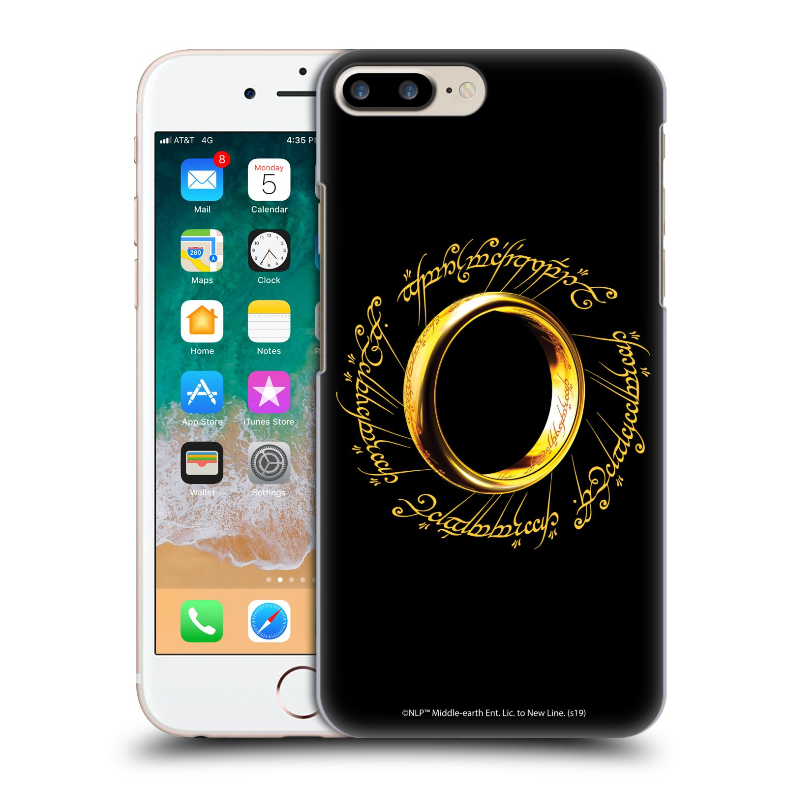 Official The Lord Of The Rings: The Fellowship Of The Ring Graphics One Ring Case for Apple iPhone 7 Plus / iPhone 8 Plus