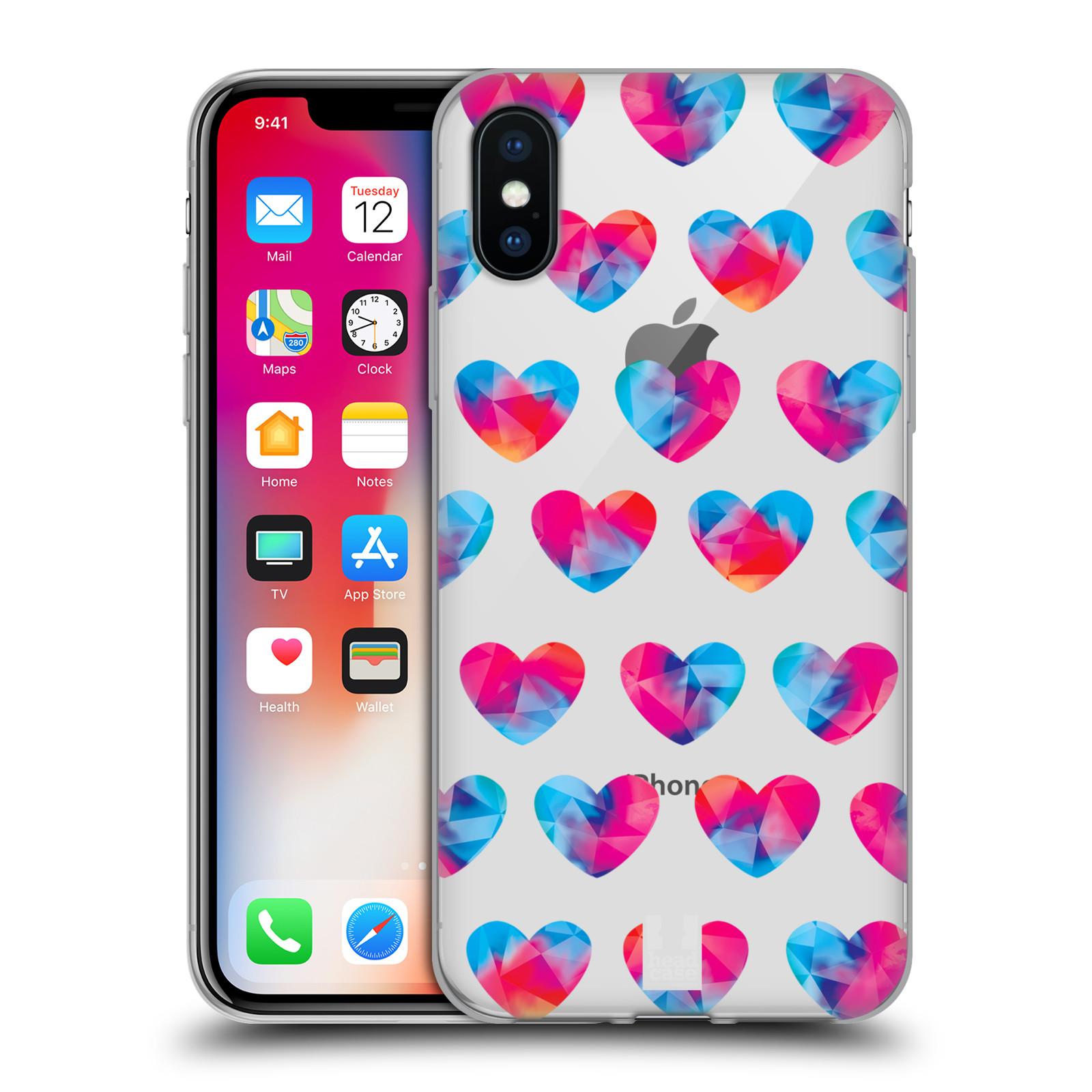 Silikonové pouzdro na mobil Apple iPhone X- Head Case - Srdíčka hrající barvami