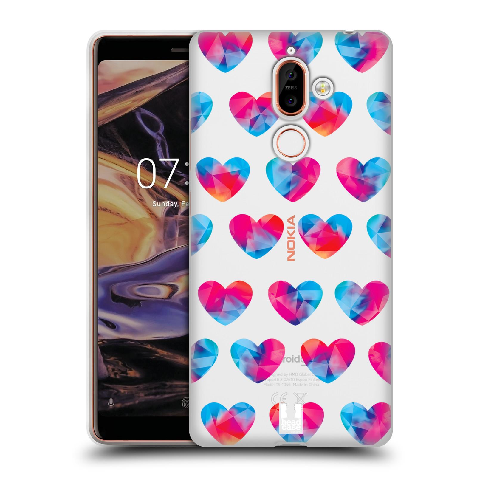 Silikonové pouzdro na mobil Nokia 7 Plus - Head Case - Srdíčka hrající barvami