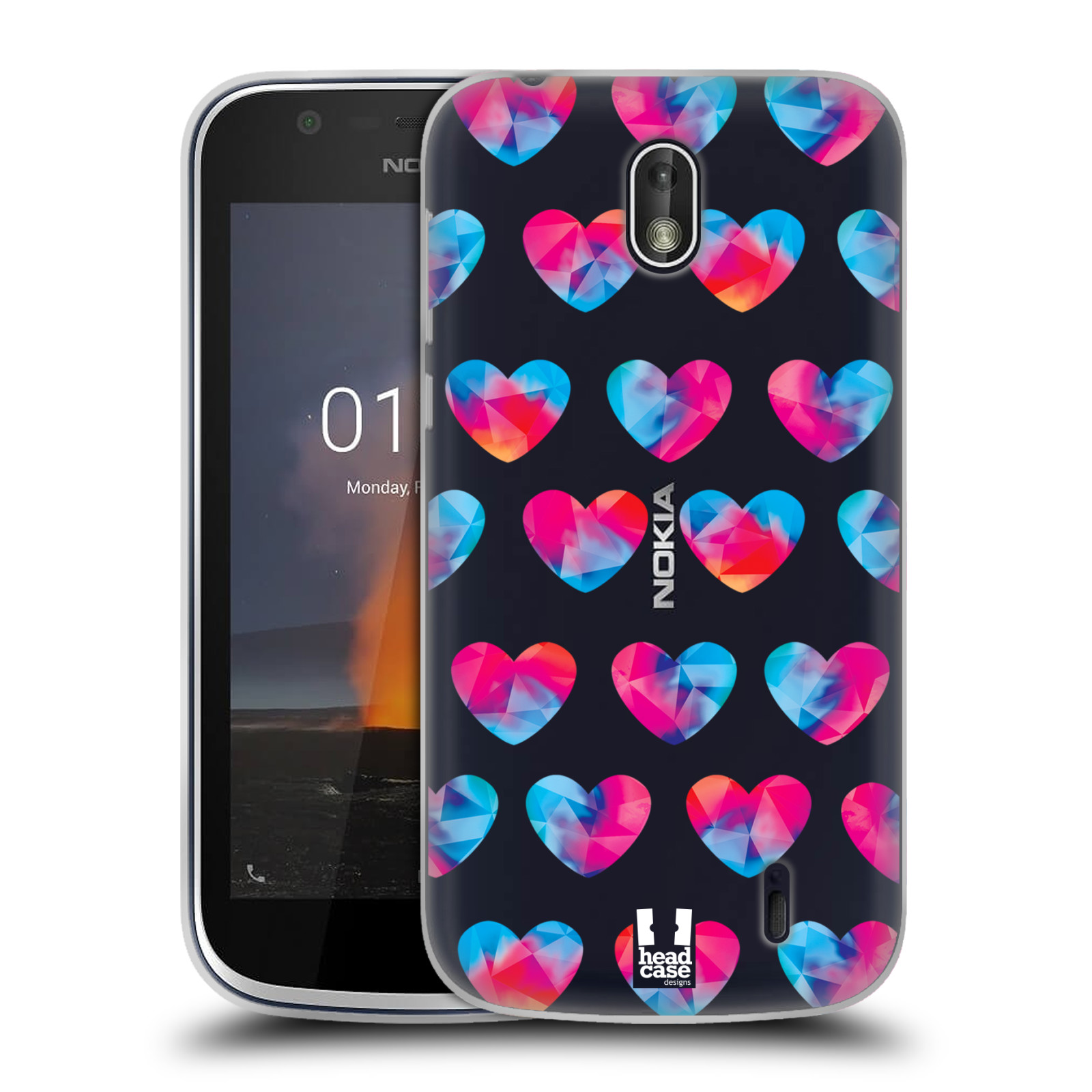 Silikonové pouzdro na mobil Nokia 1 - Head Case - Srdíčka hrající barvami