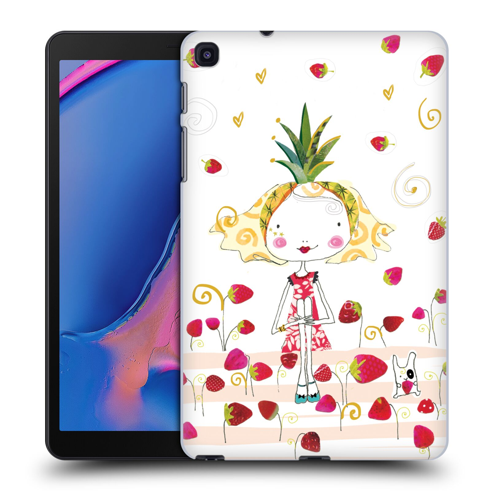 Official Turnowsky Tangerine Zebra Strawberry Fun Case for Samsung Galaxy Tab A 8.0 & S Pen 2019
