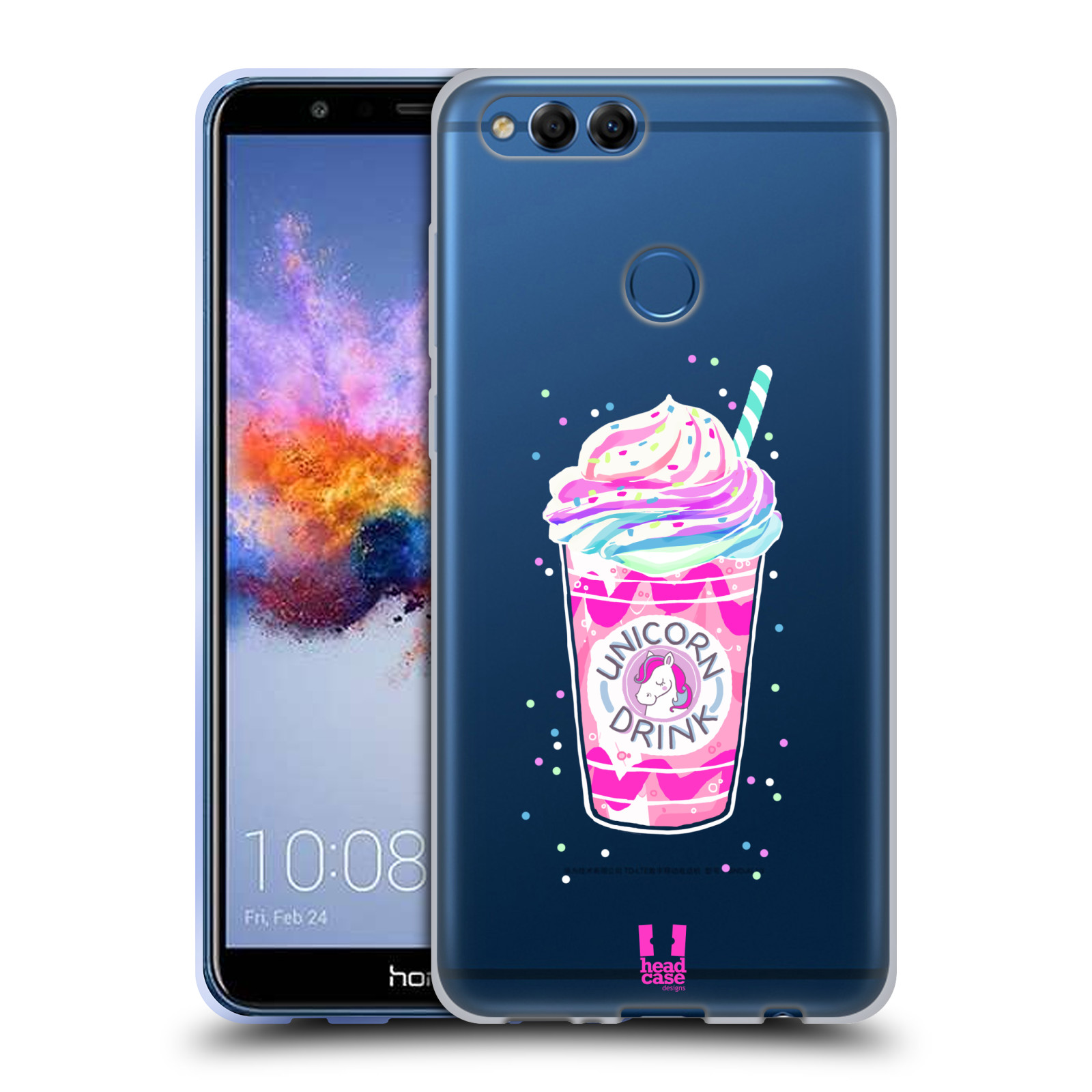 Silikonové pouzdro na mobil Honor 7X - Head Case - Unicorn drink