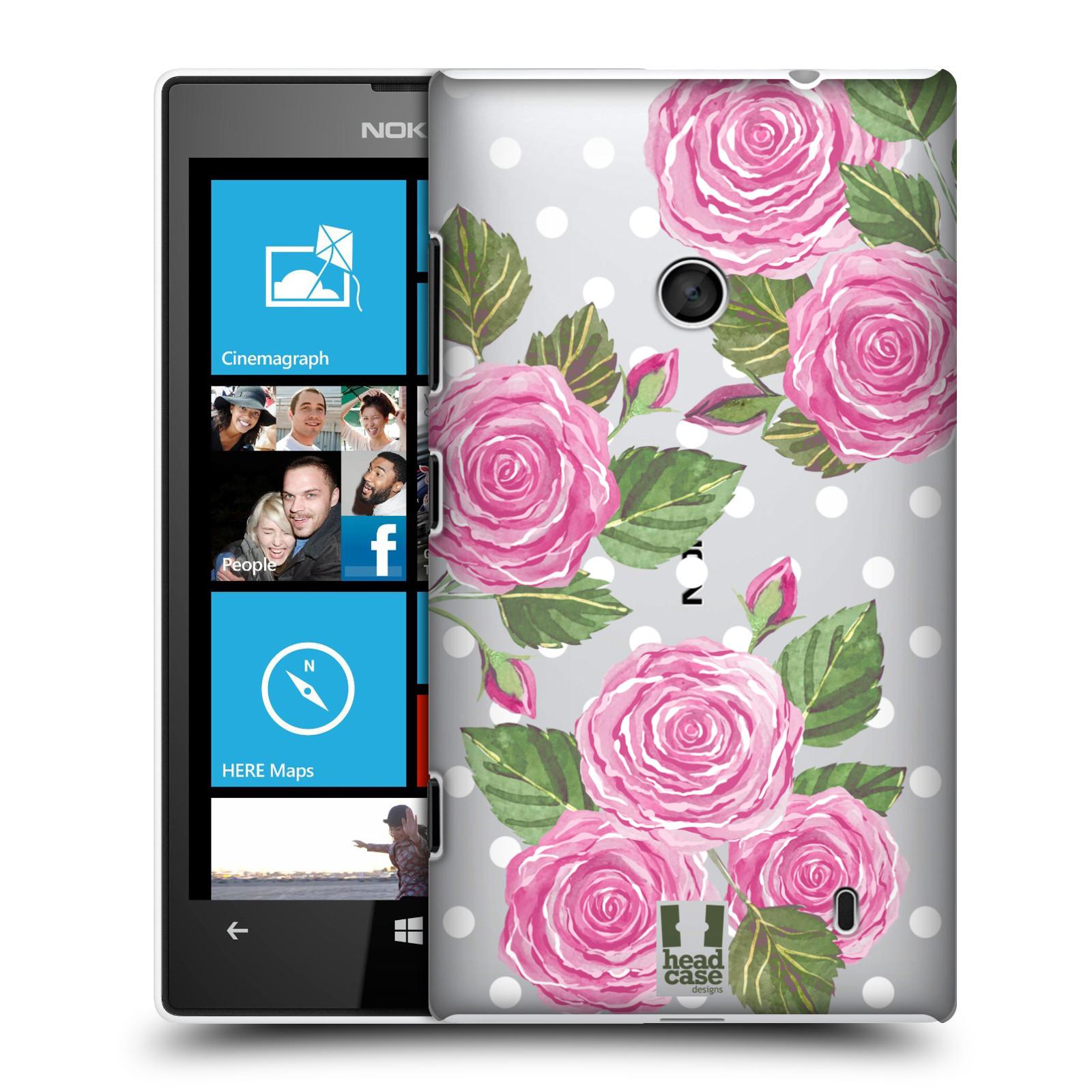 Plastové pouzdro na mobil Nokia Lumia 520 - Head Case - Hezoučké růžičky - průhledné
