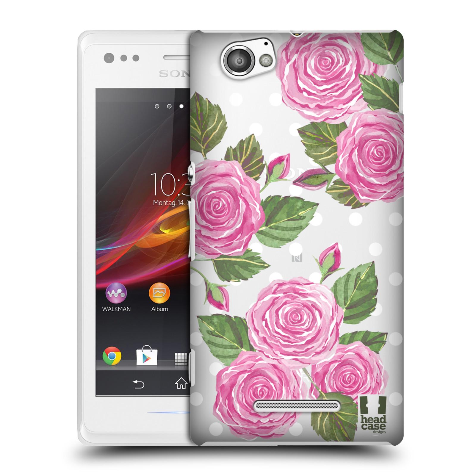 Plastové pouzdro na mobil Sony Xperia M C1905 - Head Case - Hezoučké růžičky - průhledné