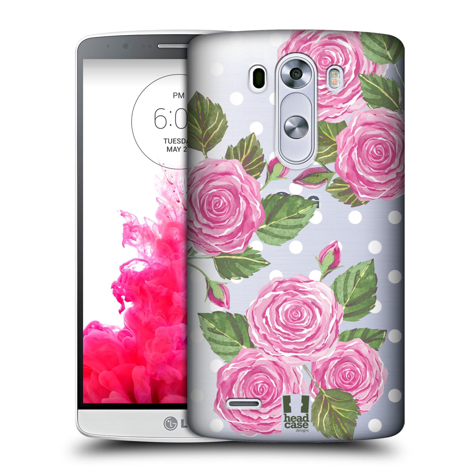 Plastové pouzdro na mobil LG G3 - Head Case - Hezoučké růžičky - průhledné