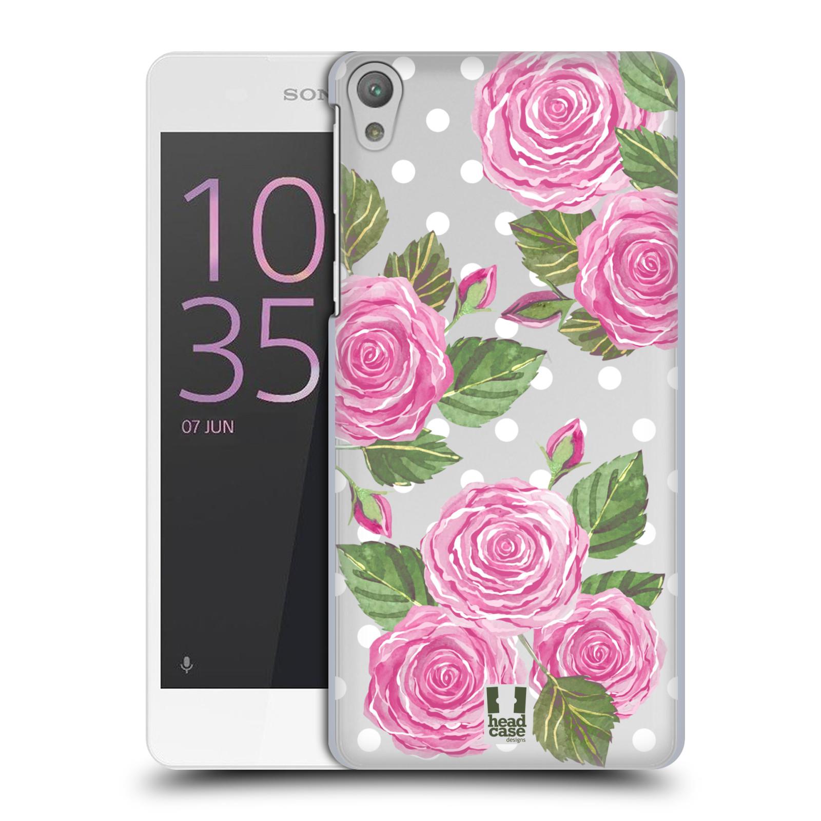 Plastové pouzdro na mobil Sony Xperia E5 - Head Case - Hezoučké růžičky - průhledné