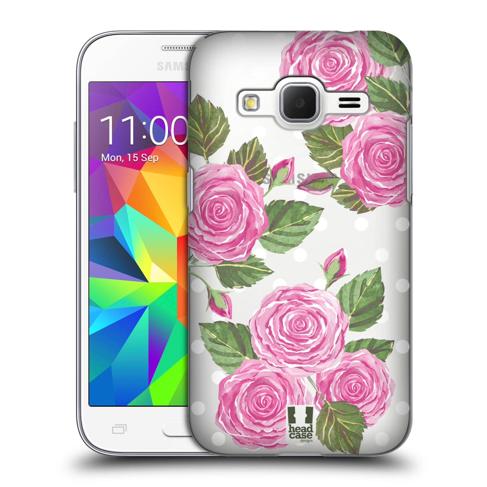 Plastové pouzdro na mobil Samsung Galaxy Core Prime VE - Head Case - Hezoučké růžičky - průhledné