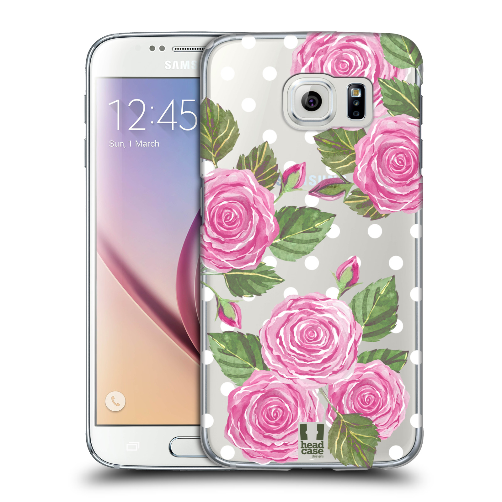 Plastové pouzdro na mobil Samsung Galaxy S6 - Head Case - Hezoučké růžičky - průhledné