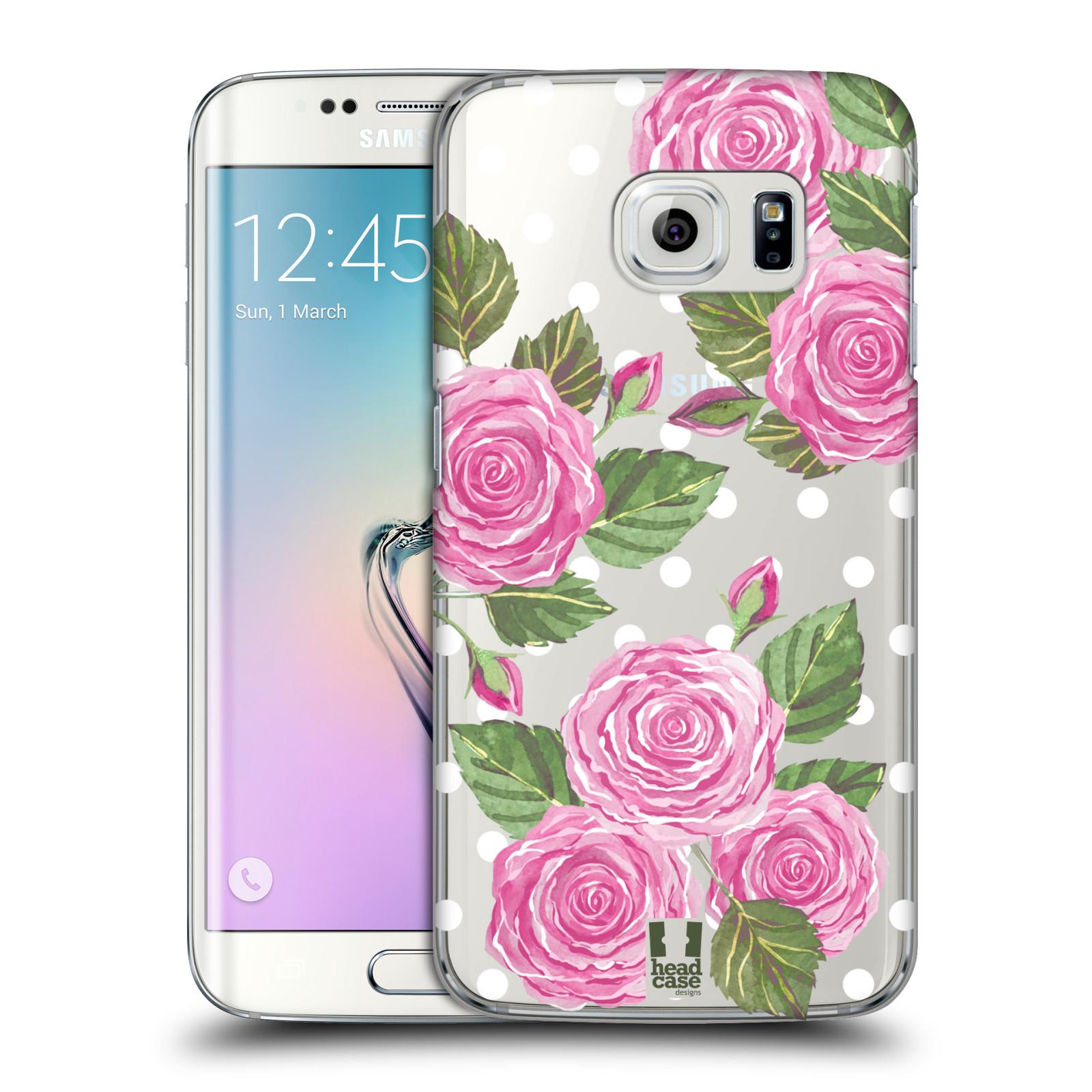Plastové pouzdro na mobil Samsung Galaxy S6 Edge - Head Case - Hezoučké růžičky - průhledné