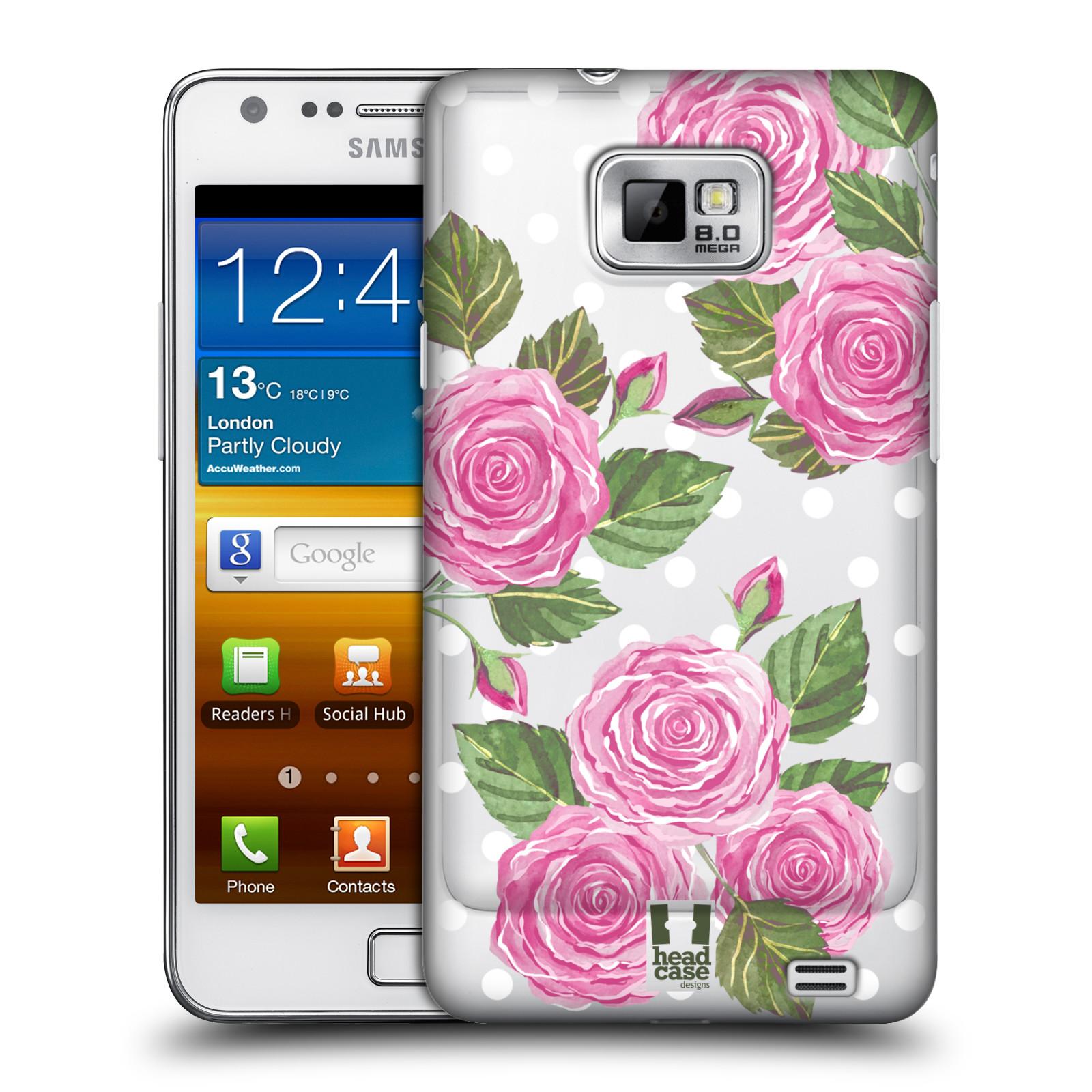 Plastové pouzdro na mobil Samsung Galaxy S II - Head Case - Hezoučké růžičky - průhledné