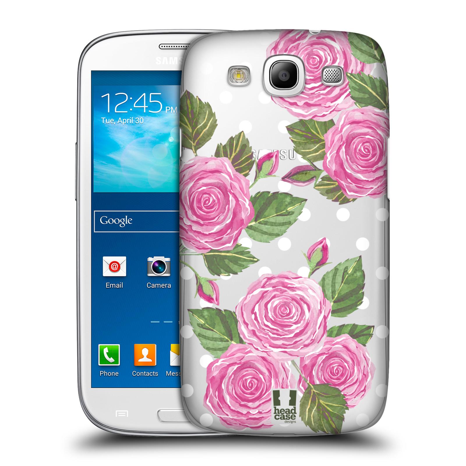 Plastové pouzdro na mobil Samsung Galaxy S III - Head Case - Hezoučké růžičky - průhledné