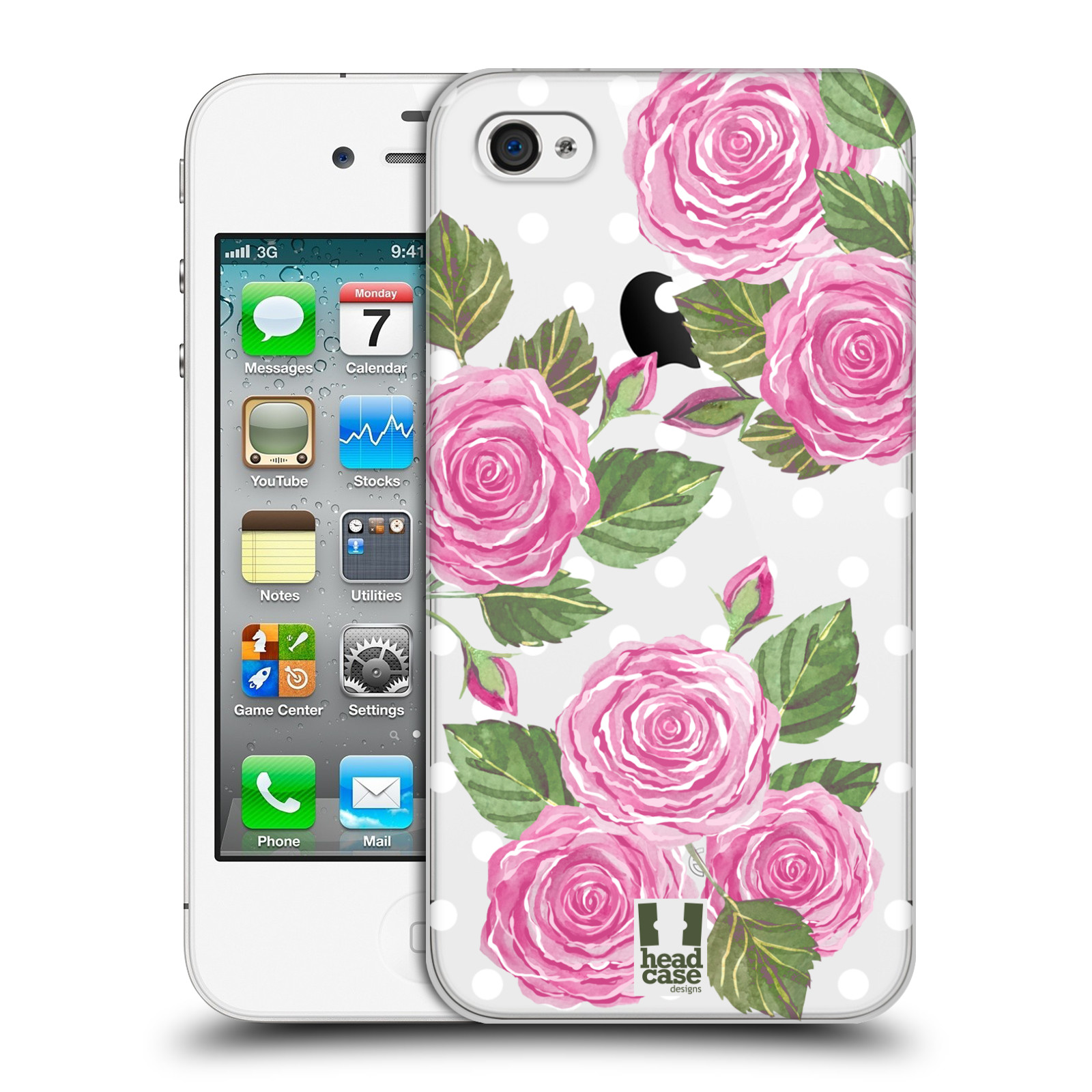 Plastové pouzdro na mobil Apple iPhone 4 a 4S - Head Case - Hezoučké růžičky - průhledné