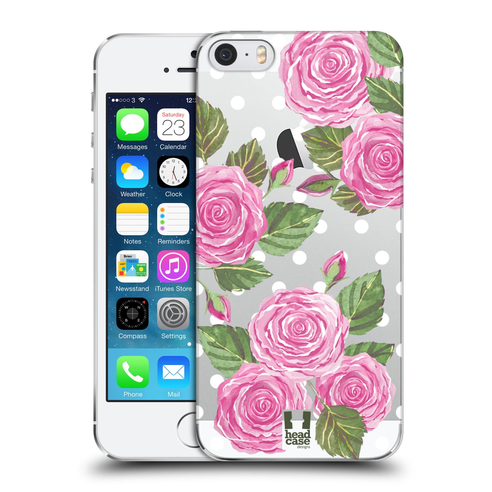 Plastové pouzdro na mobil Apple iPhone SE, 5 a 5S - Head Case - Hezoučké růžičky - průhledné