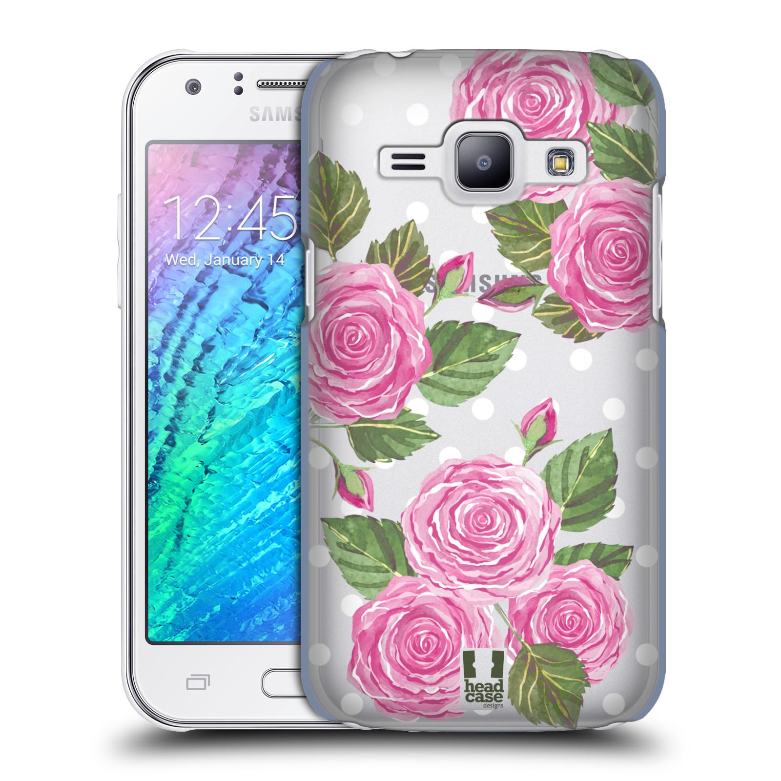 Plastové pouzdro na mobil Samsung Galaxy J1 - Head Case - Hezoučké růžičky - průhledné
