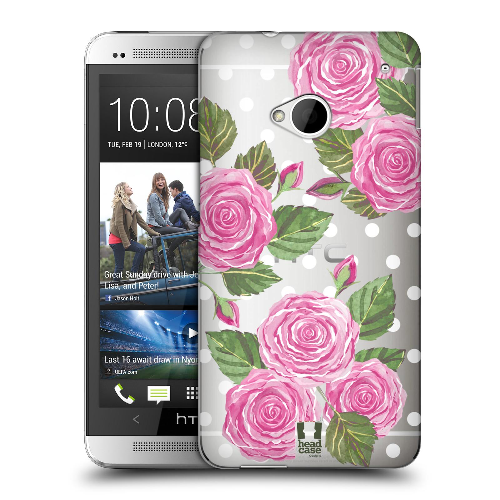Plastové pouzdro na mobil HTC ONE M7 - Head Case - Hezoučké růžičky - průhledné (Plastový kryt či obal na mobilní telefon s motivem Hezkých růžiček pro HTC ONE M7)