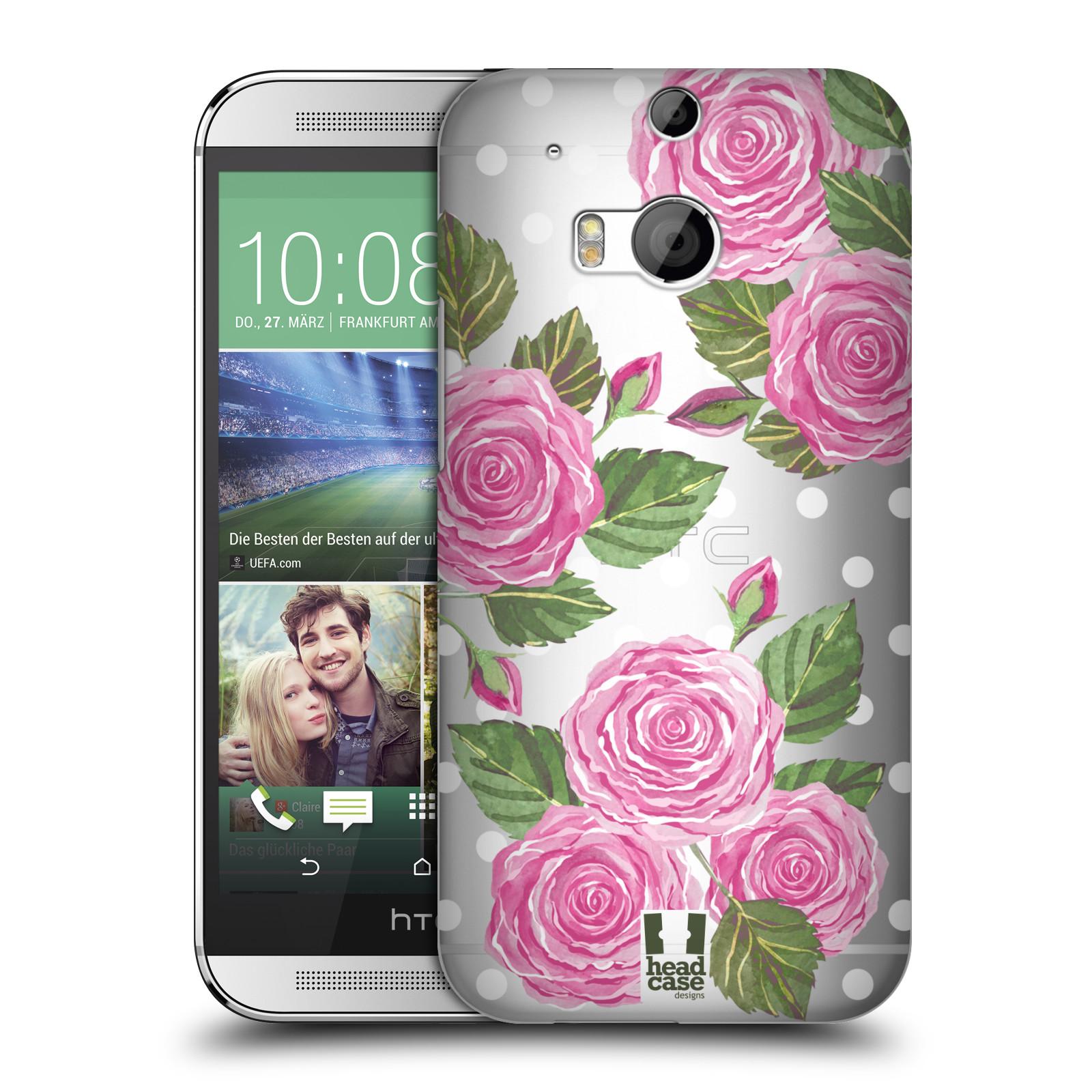 Plastové pouzdro na mobil HTC ONE M8 - Head Case - Hezoučké růžičky - průhledné