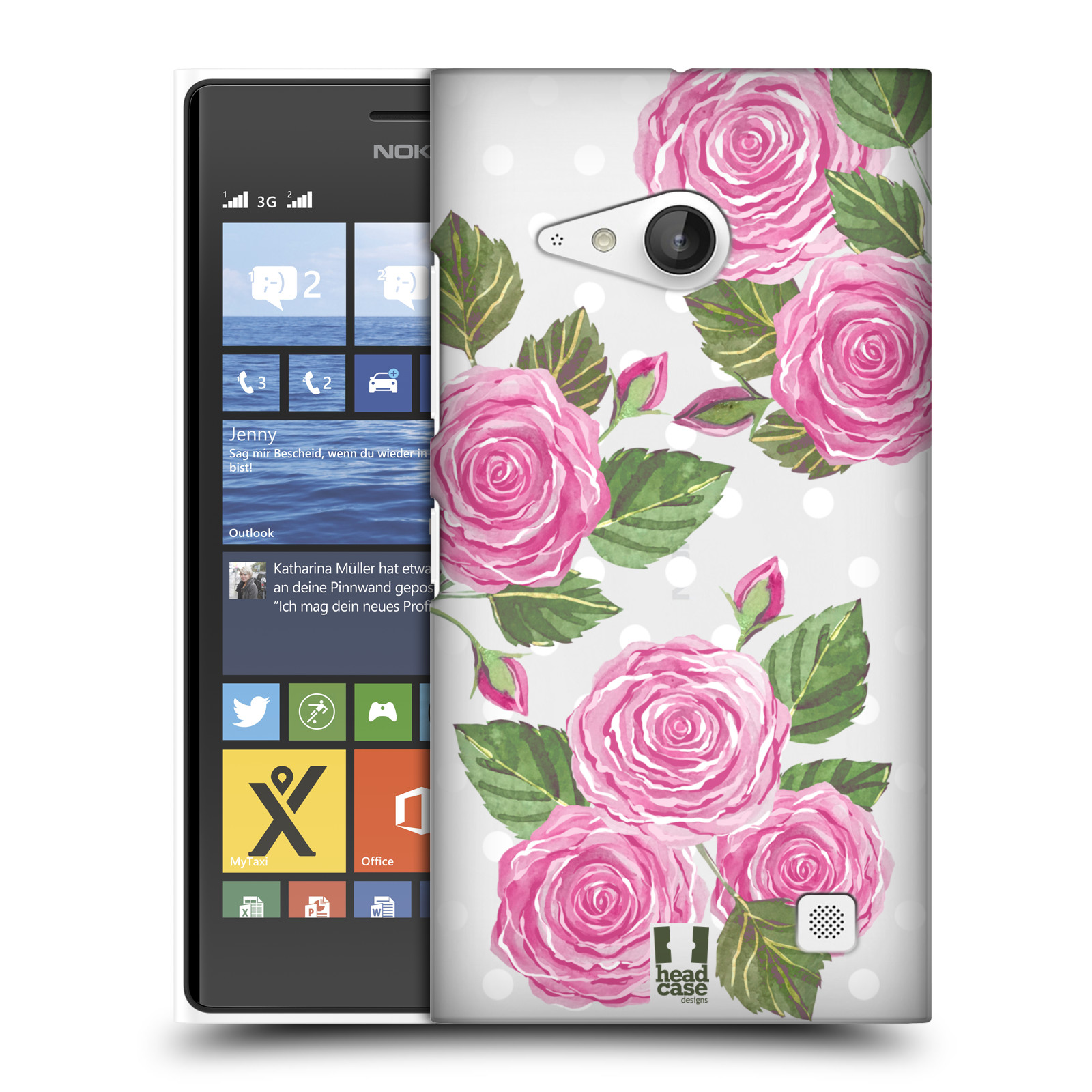 Plastové pouzdro na mobil Nokia Lumia 730 Dual SIM - Head Case - Hezoučké růžičky - průhledné (Plastový kryt či obal na mobilní telefon s motivem Hezkých růžiček pro Nokia Lumia 730 Dual SIM)