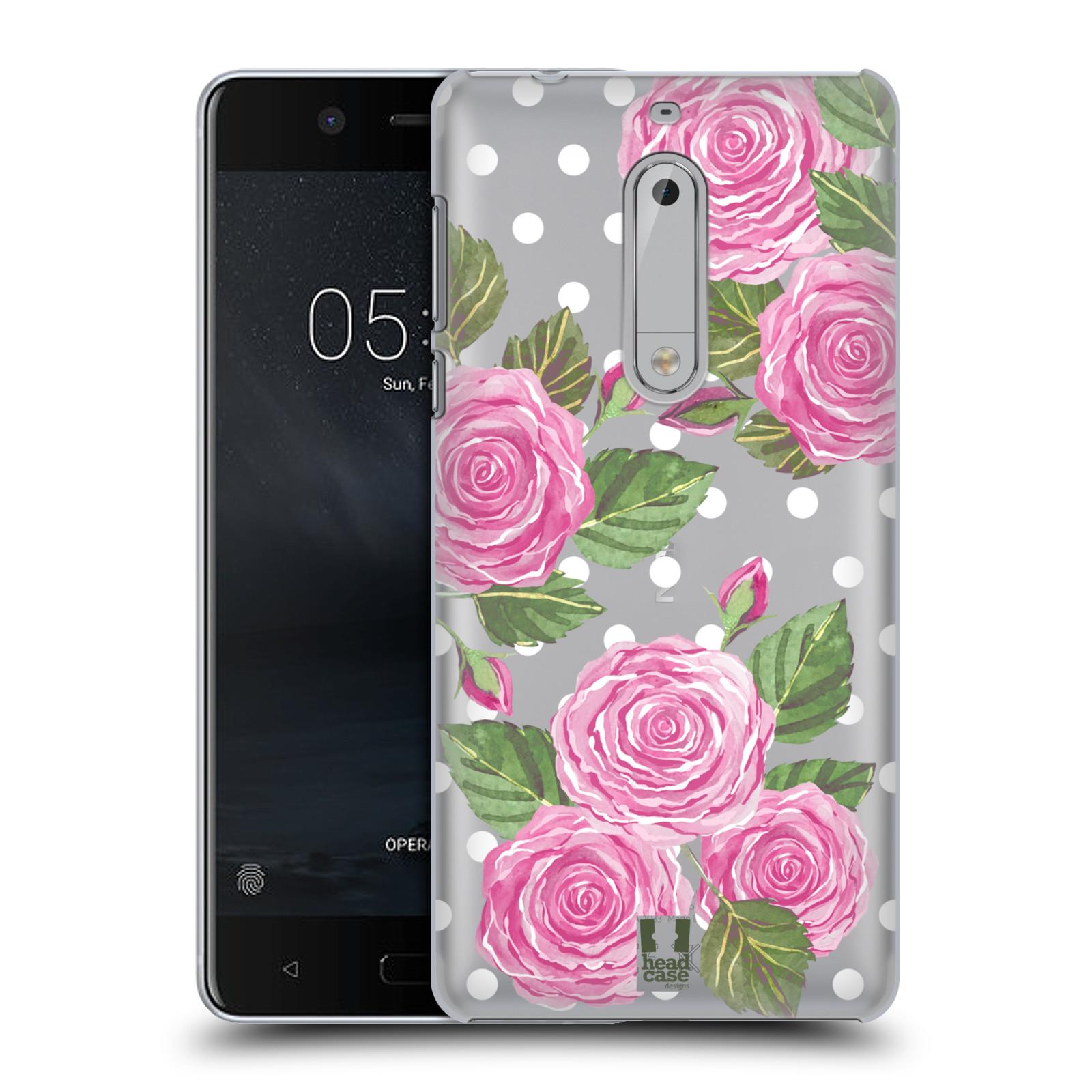 Plastové pouzdro na mobil Nokia 5 Head Case - Hezoučké růžičky - průhledné