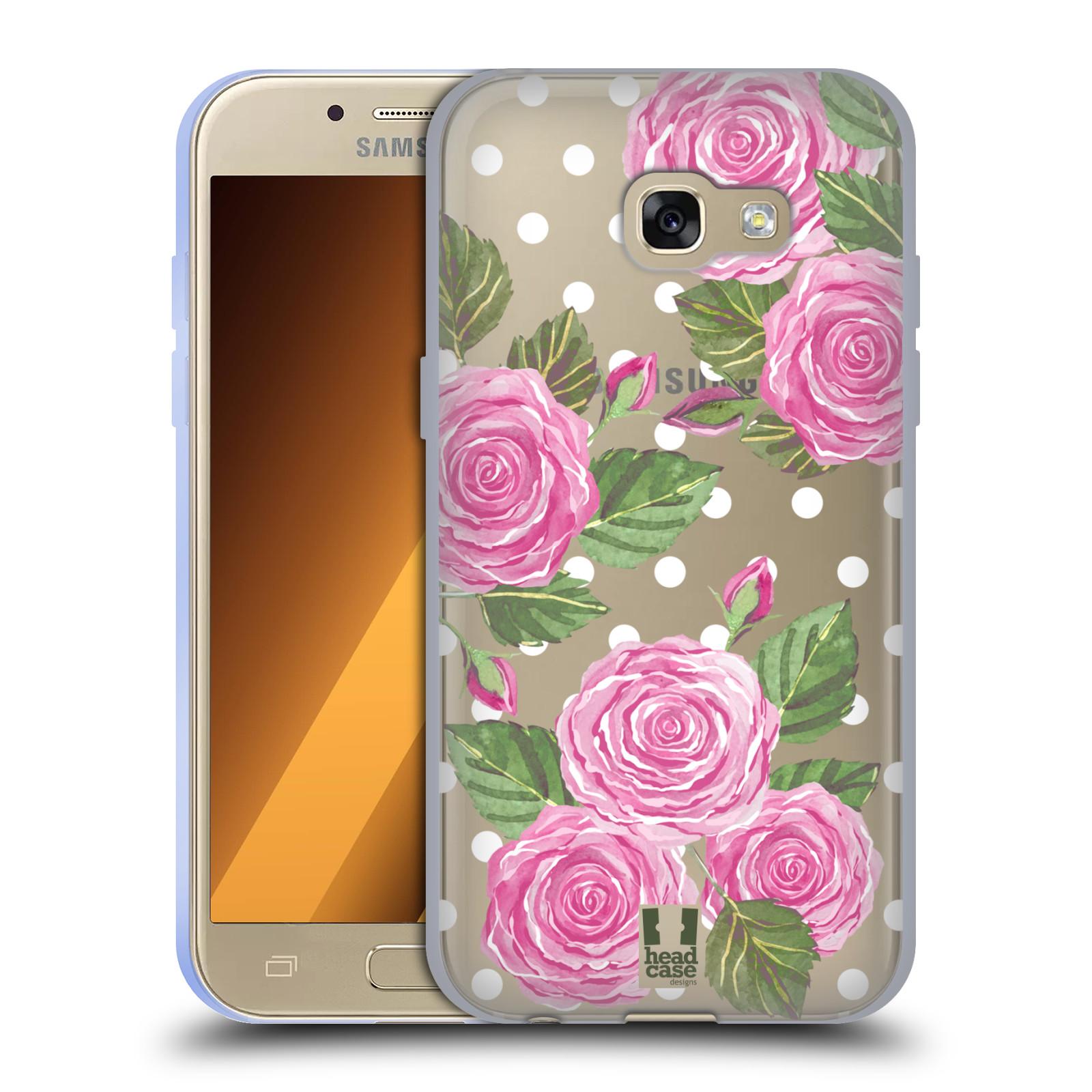Silikonové pouzdro na mobil Samsung Galaxy A3 (2017) - Head Case - Hezoučké růžičky - průhledné