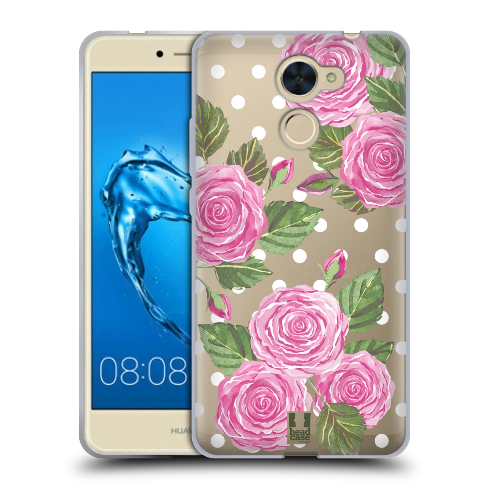 Silikonové pouzdro na mobil Huawei Y7 - Head Case - Hezoučké růžičky - průhledné