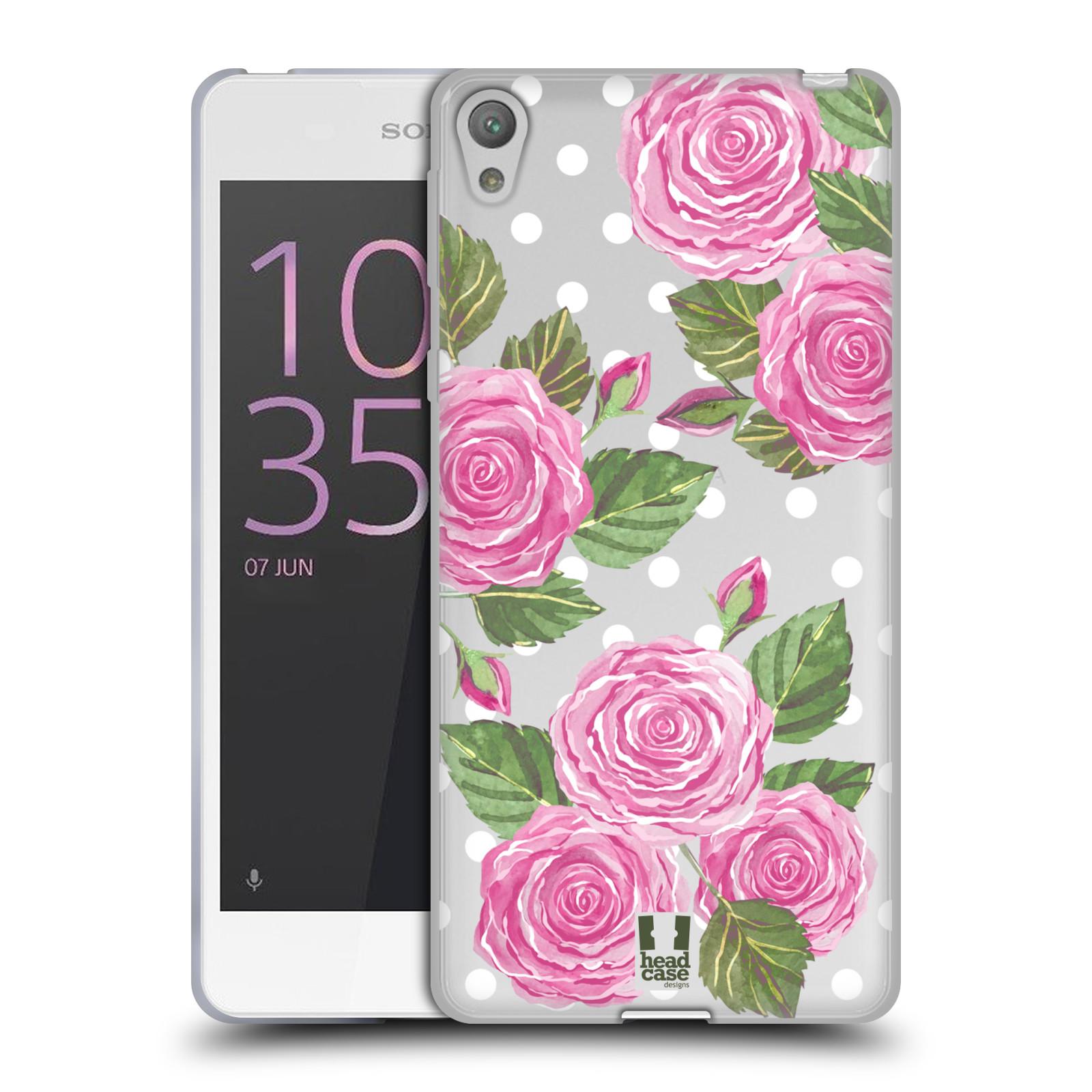 Silikonové pouzdro na mobil Sony Xperia E5 - Head Case - Hezoučké růžičky - průhledné