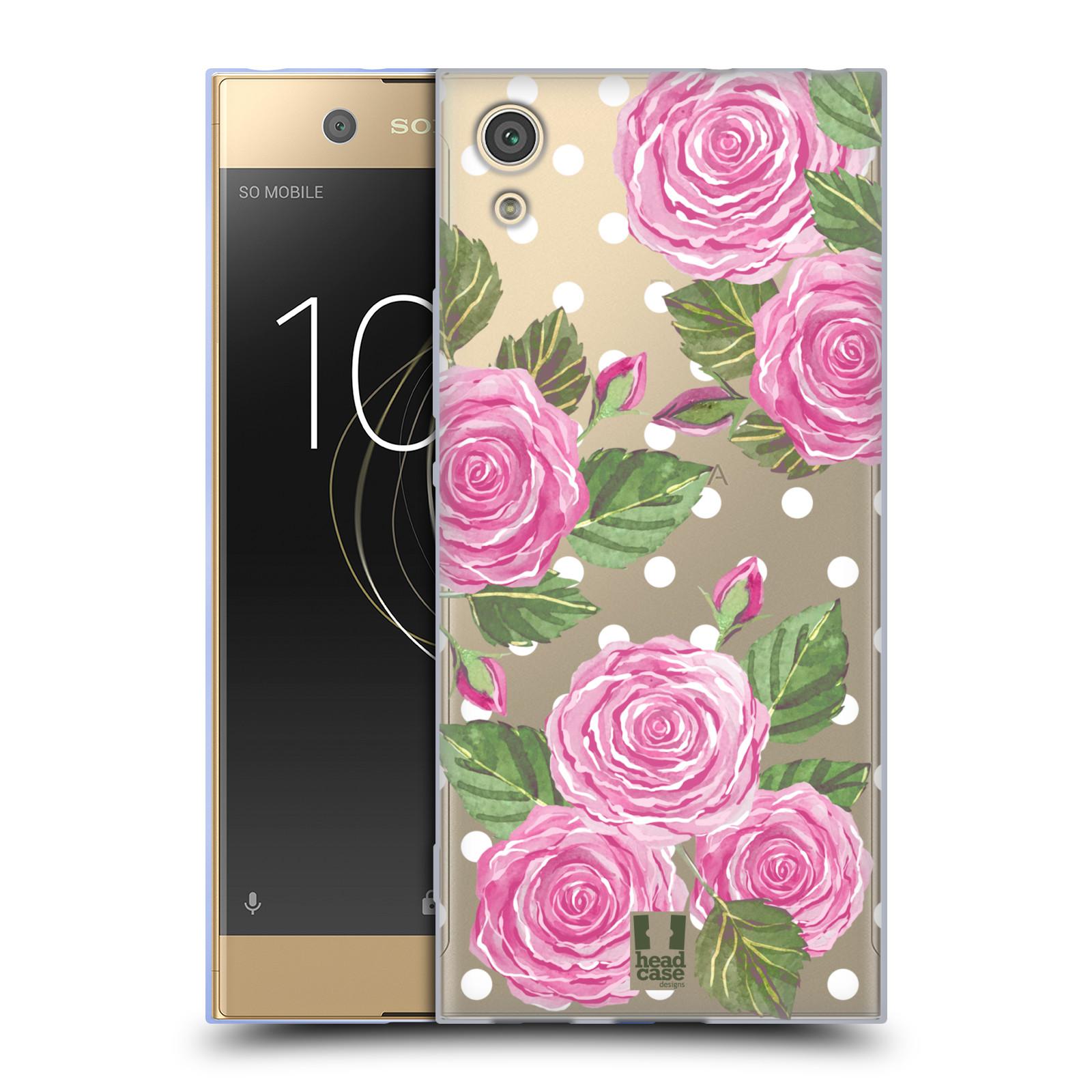 Silikonové pouzdro na mobil Sony Xperia XA1 - Head Case - Hezoučké růžičky - průhledné