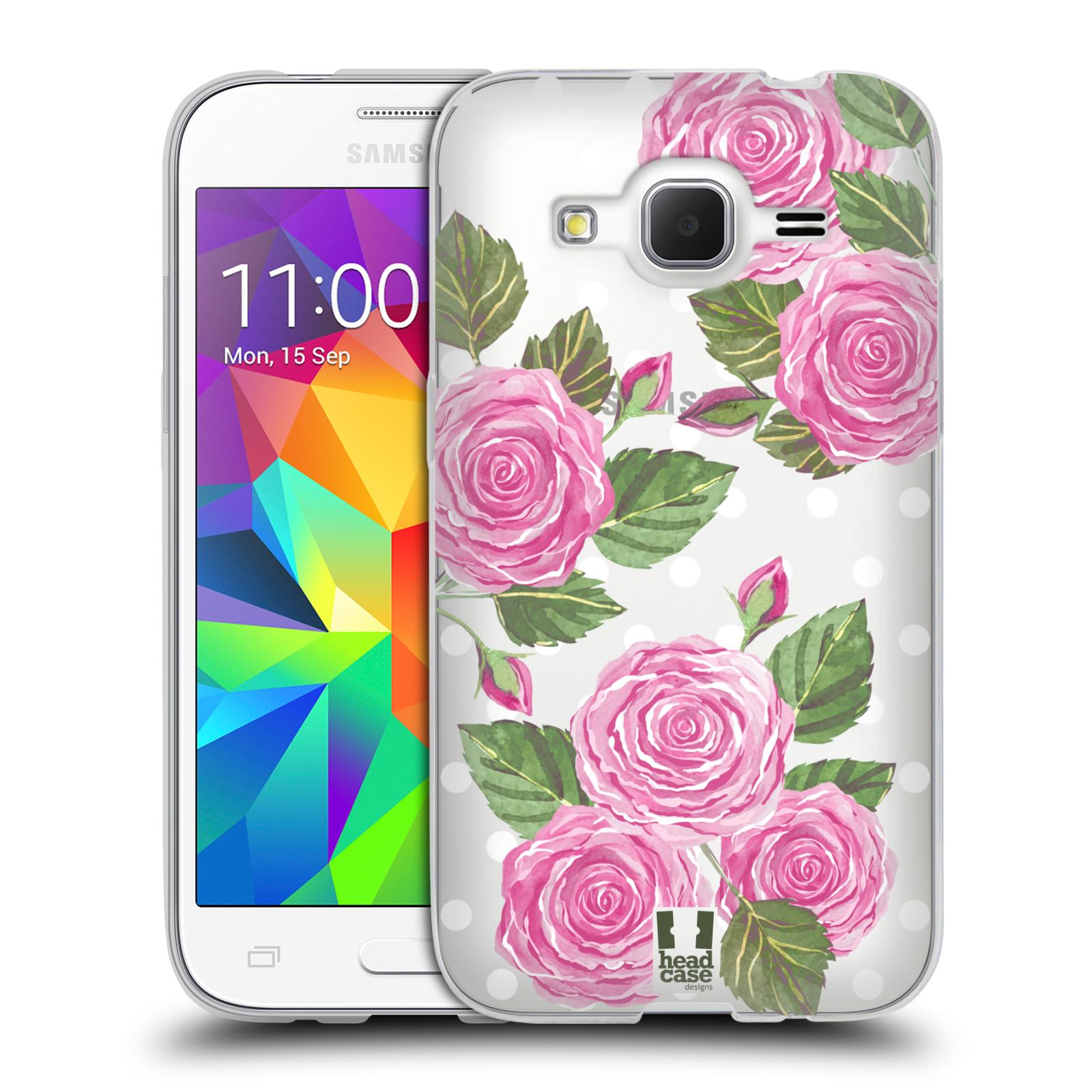 Silikonové pouzdro na mobil Samsung Galaxy Core Prime LTE - Head Case - Hezoučké růžičky - průhledné