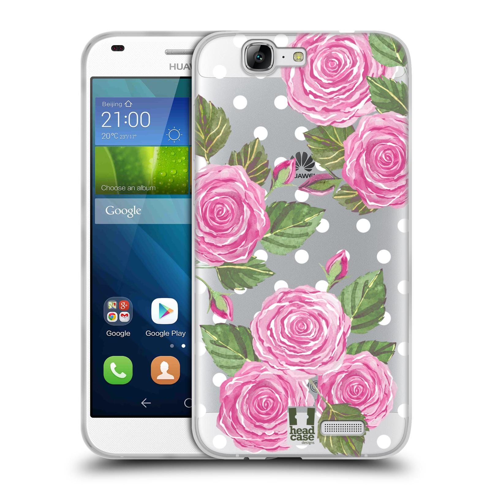 Silikonové pouzdro na mobil Huawei Ascend G7 - Head Case - Hezoučké růžičky - průhledné