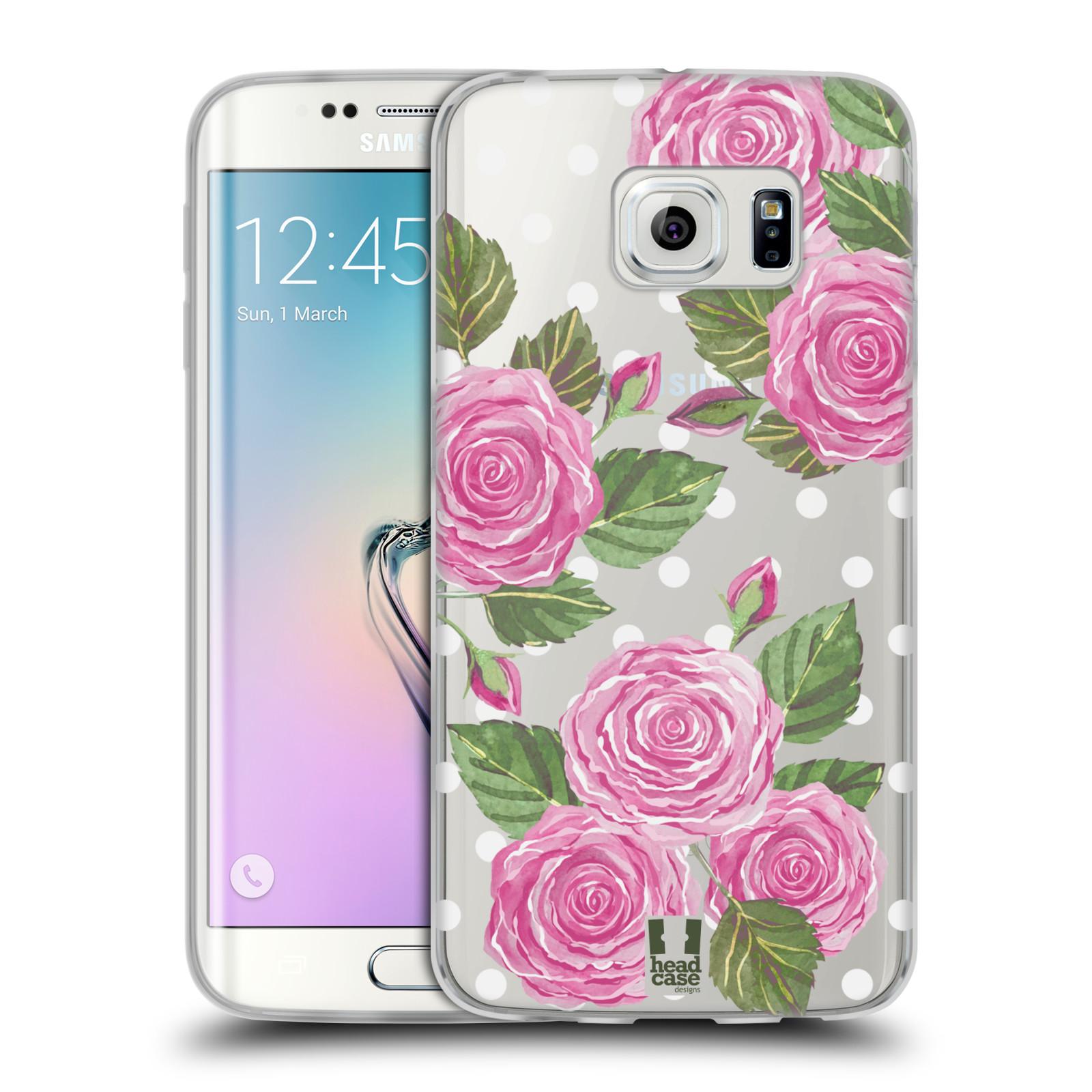 Silikonové pouzdro na mobil Samsung Galaxy S6 Edge - Head Case - Hezoučké růžičky - průhledné