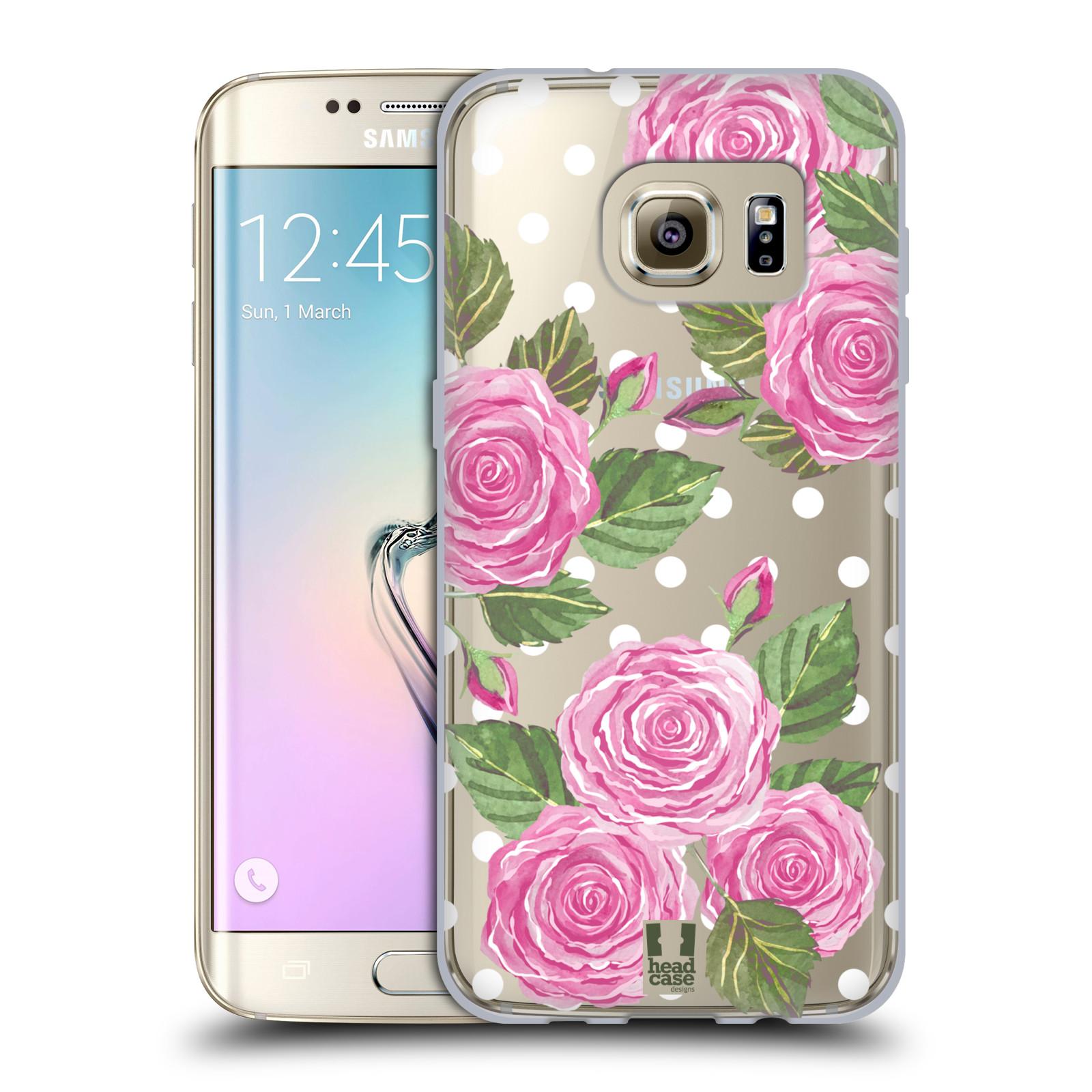 Silikonové pouzdro na mobil Samsung Galaxy S7 Edge - Head Case - Hezoučké růžičky - průhledné