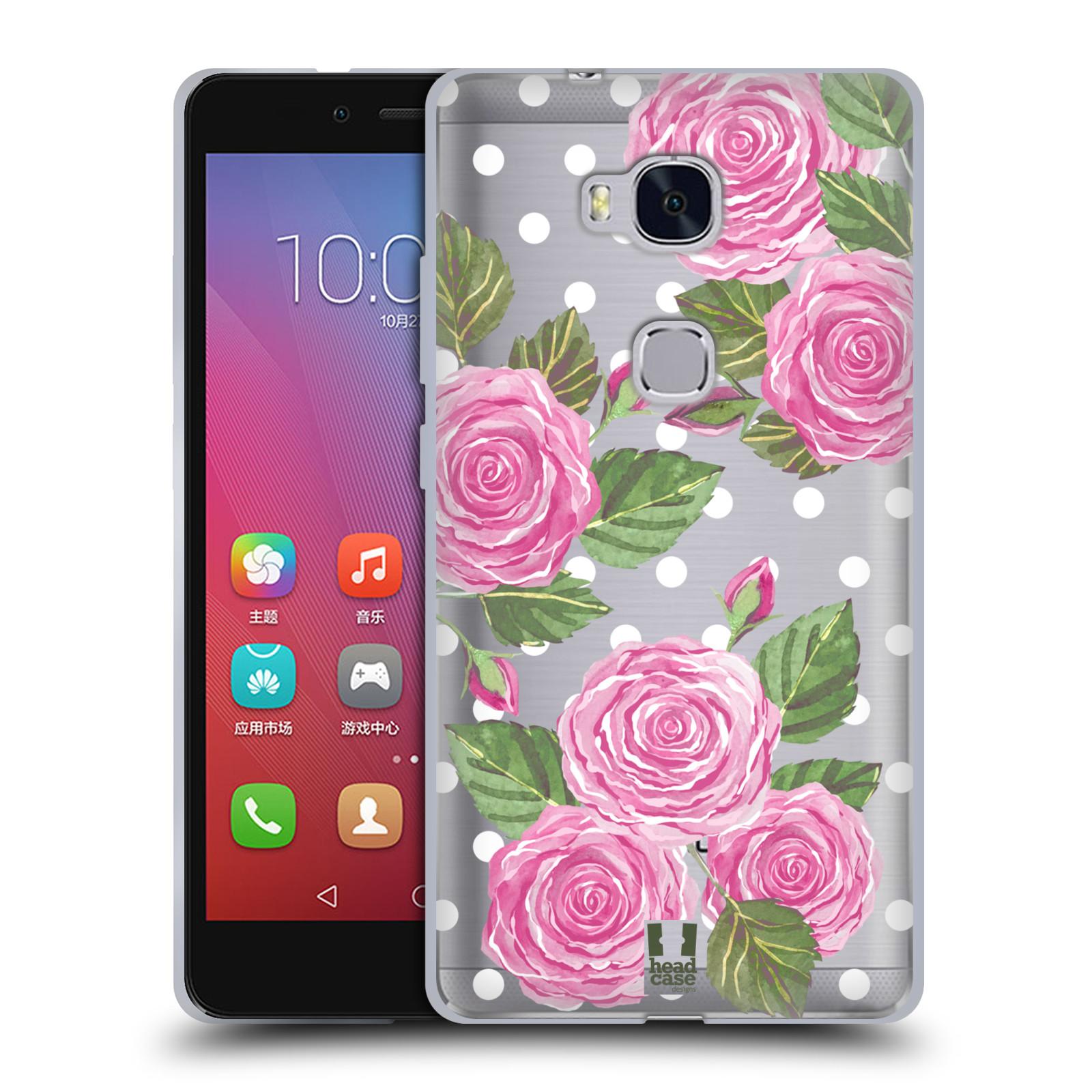 Silikonové pouzdro na mobil Honor 5X - Head Case - Hezoučké růžičky - průhledné