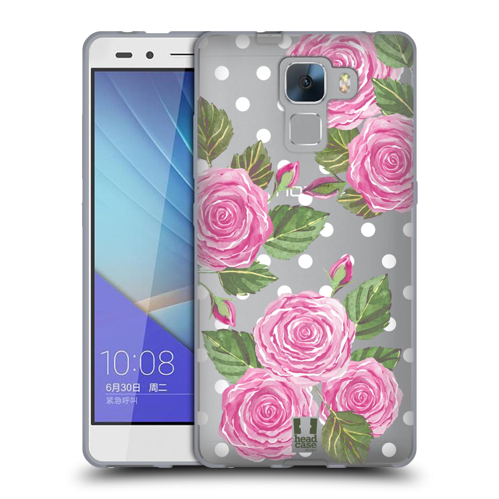 Silikonové pouzdro na mobil Honor 7 - Head Case - Hezoučké růžičky - průhledné