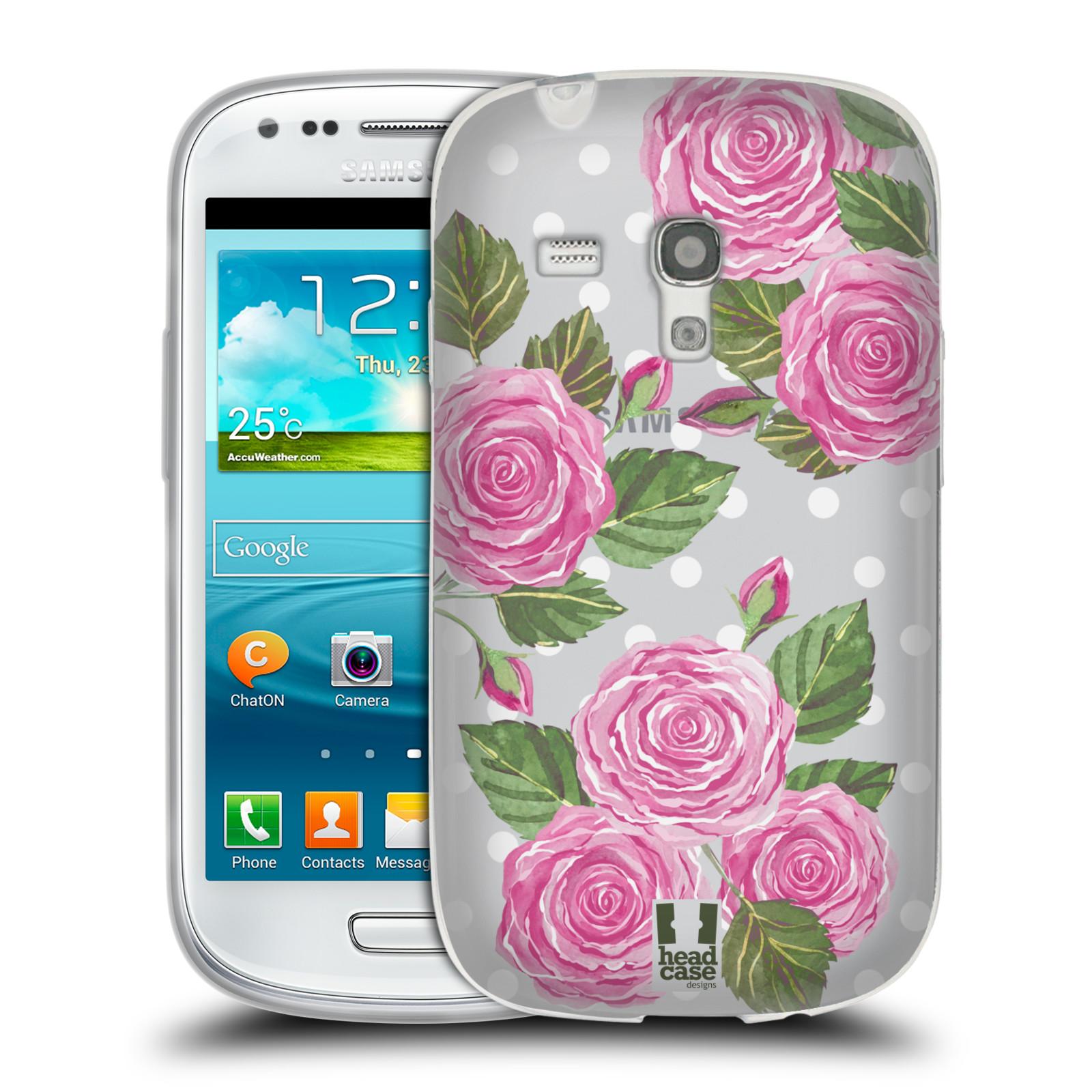 Silikonové pouzdro na mobil Samsung Galaxy S III Mini - Head Case - Hezoučké růžičky - průhledné