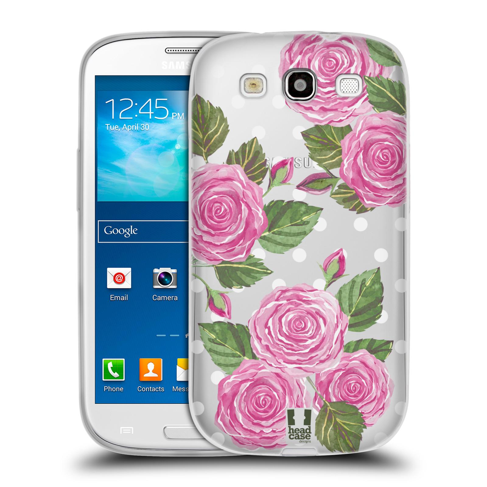 Silikonové pouzdro na mobil Samsung Galaxy S3 Neo - Head Case - Hezoučké růžičky - průhledné