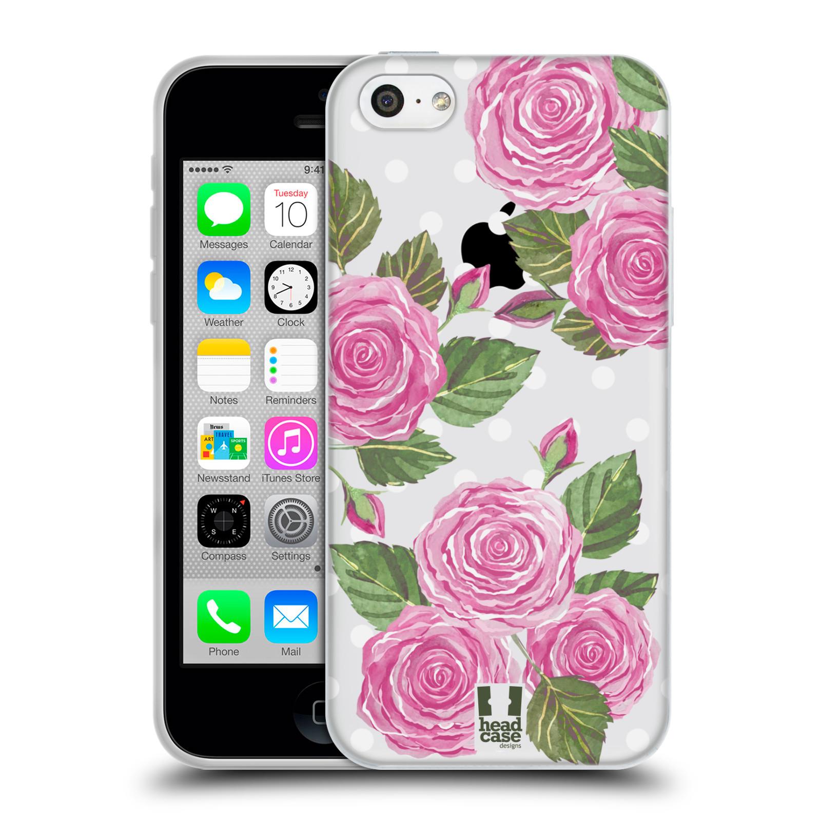Silikonové pouzdro na mobil Apple iPhone 5C - Head Case - Hezoučké růžičky - průhledné
