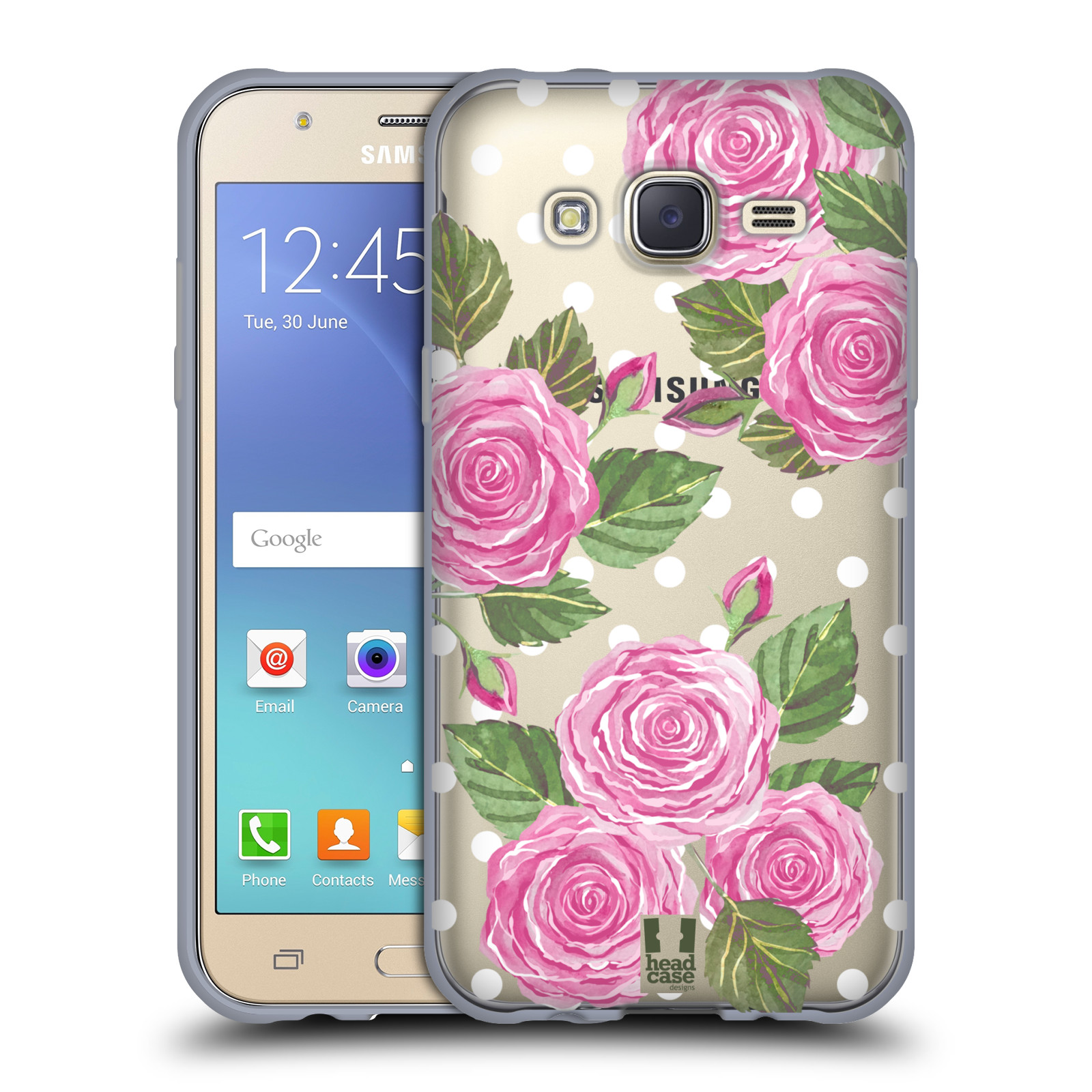 Silikonové pouzdro na mobil Samsung Galaxy J5 - Head Case - Hezoučké růžičky - průhledné