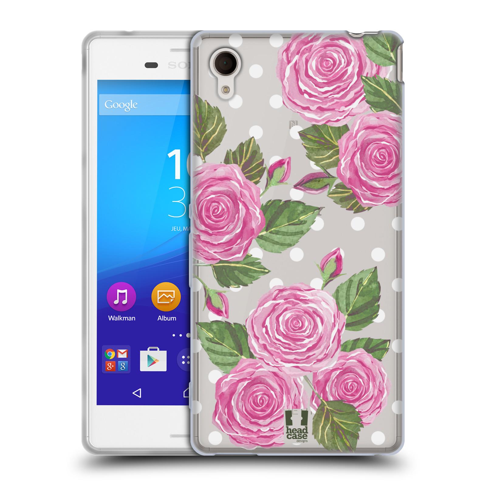 Silikonové pouzdro na mobil Sony Xperia M4 Aqua E2303 - Head Case - Hezoučké růžičky - průhledné