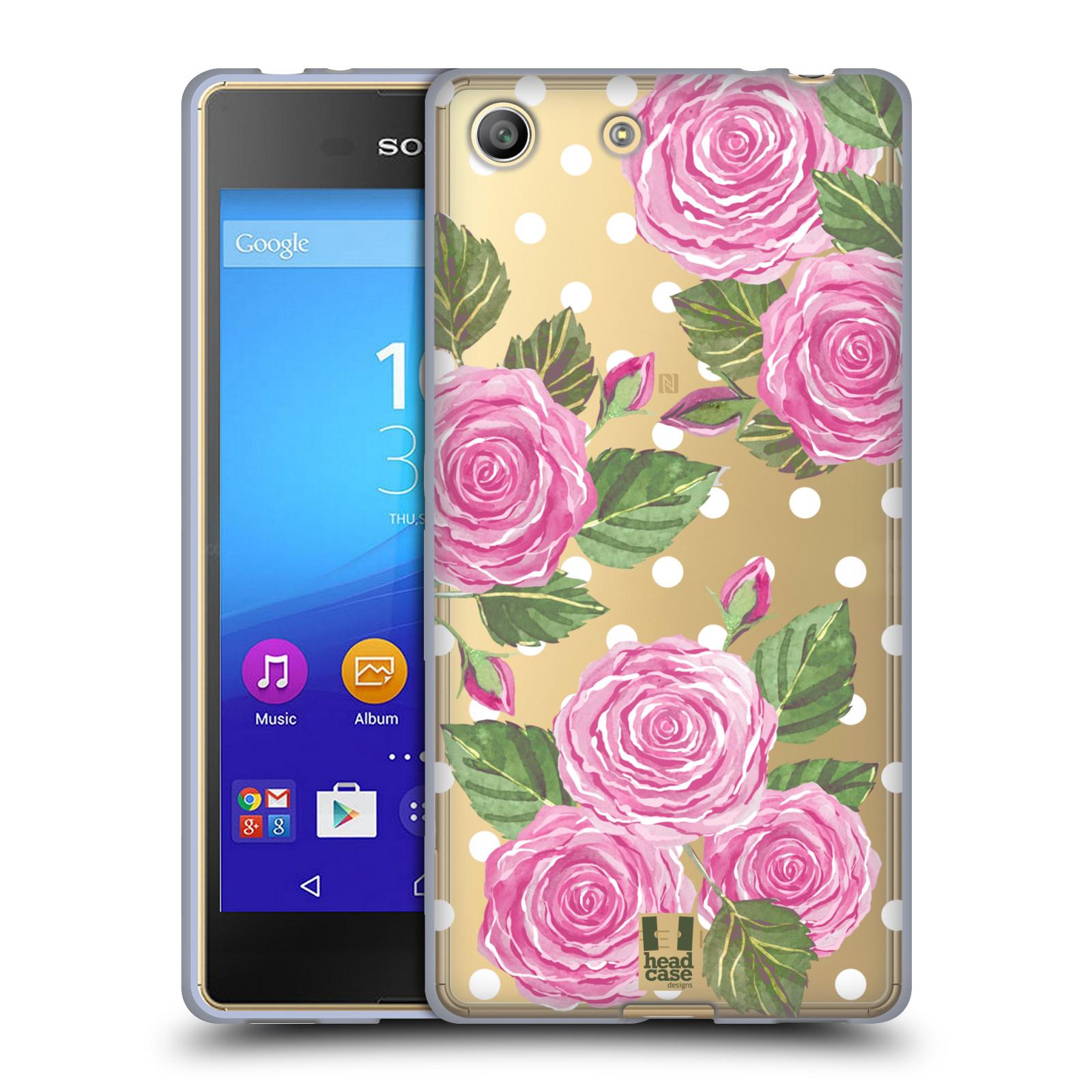 Silikonové pouzdro na mobil Sony Xperia M5 - Head Case - Hezoučké růžičky - průhledné