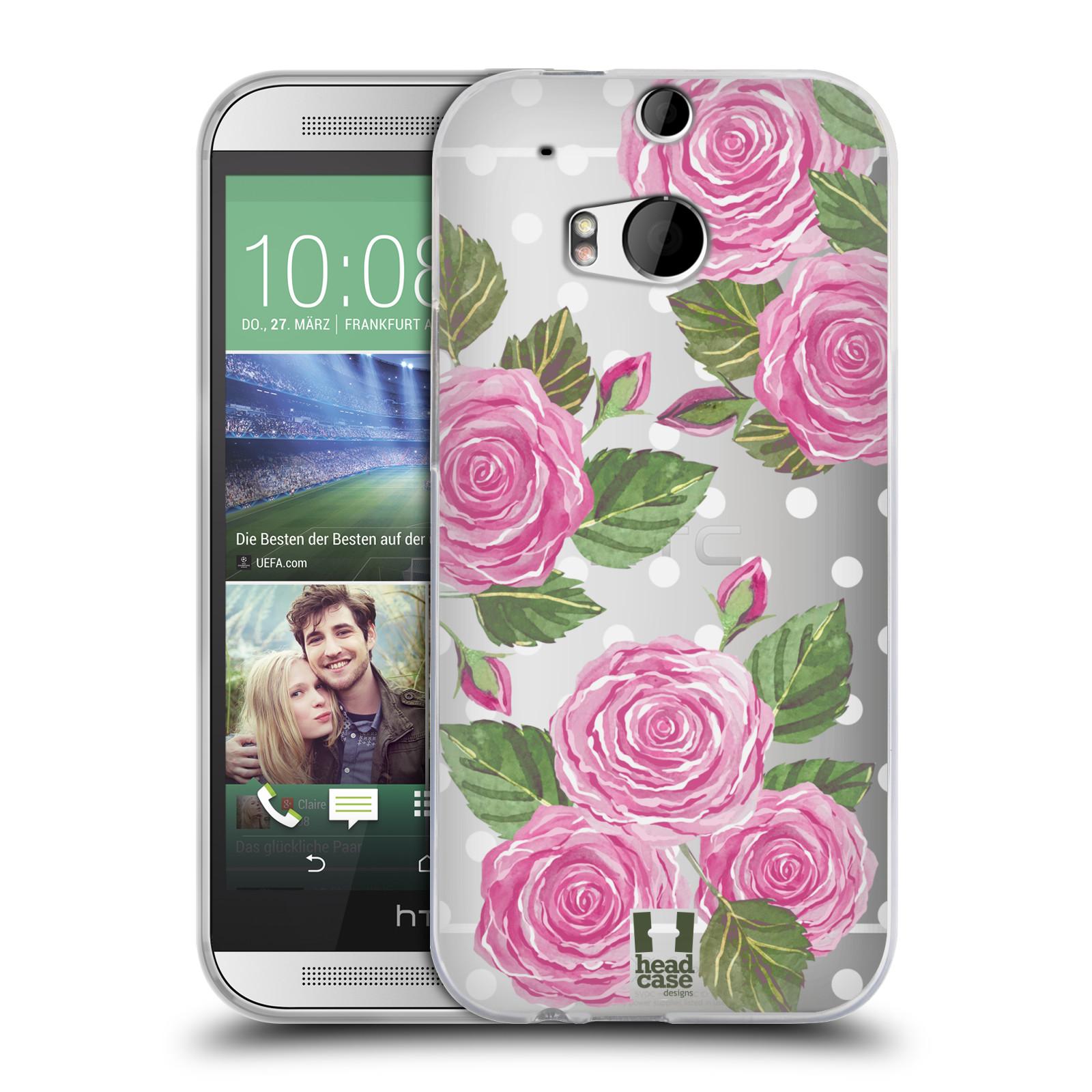 Silikonové pouzdro na mobil HTC ONE M8 - Head Case - Hezoučké růžičky - průhledné